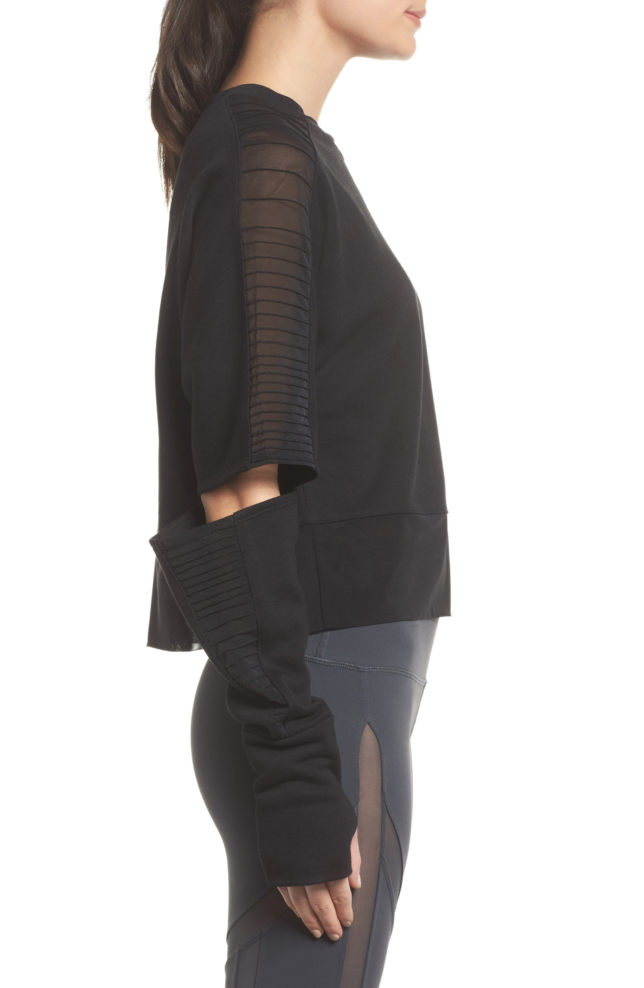 Cutout Sleeve Pullover Top,                             Alternate thumbnail 3, color,
