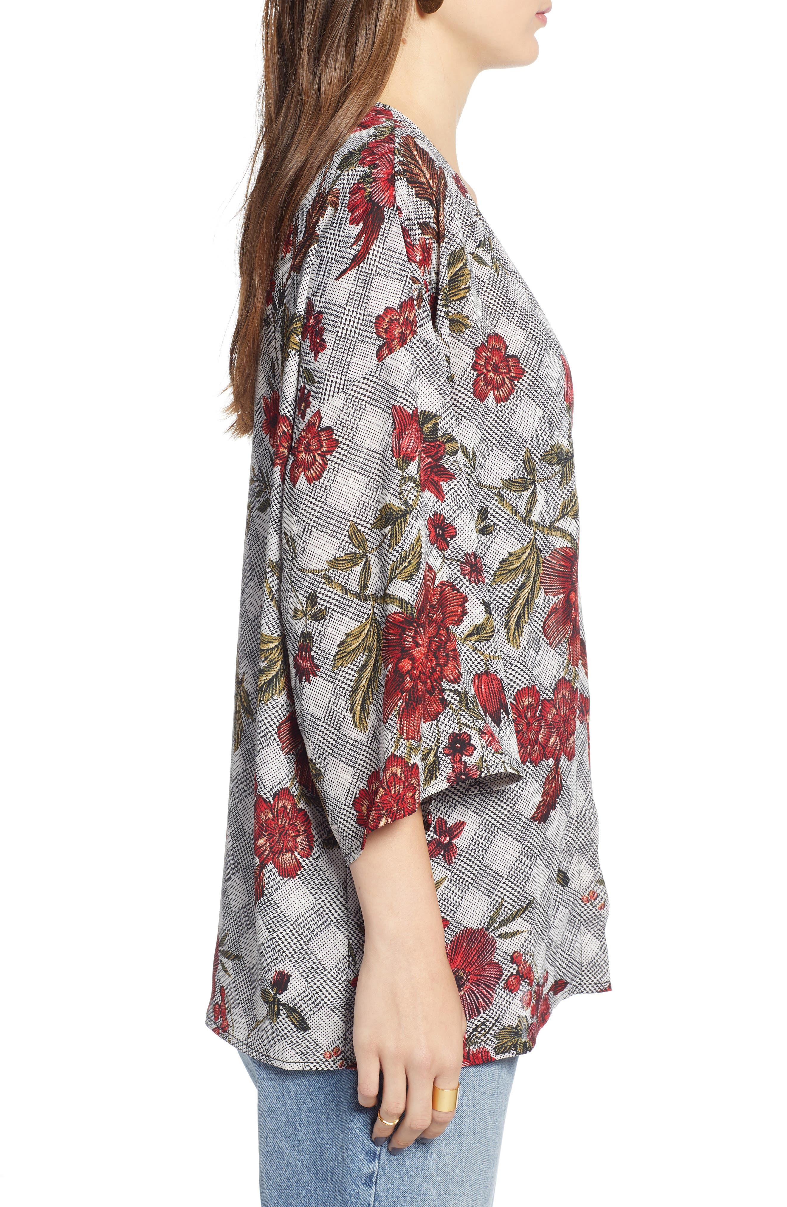 Floral & Glen Check Kimono,                             Alternate thumbnail 3, color,                             BLACK COMBO