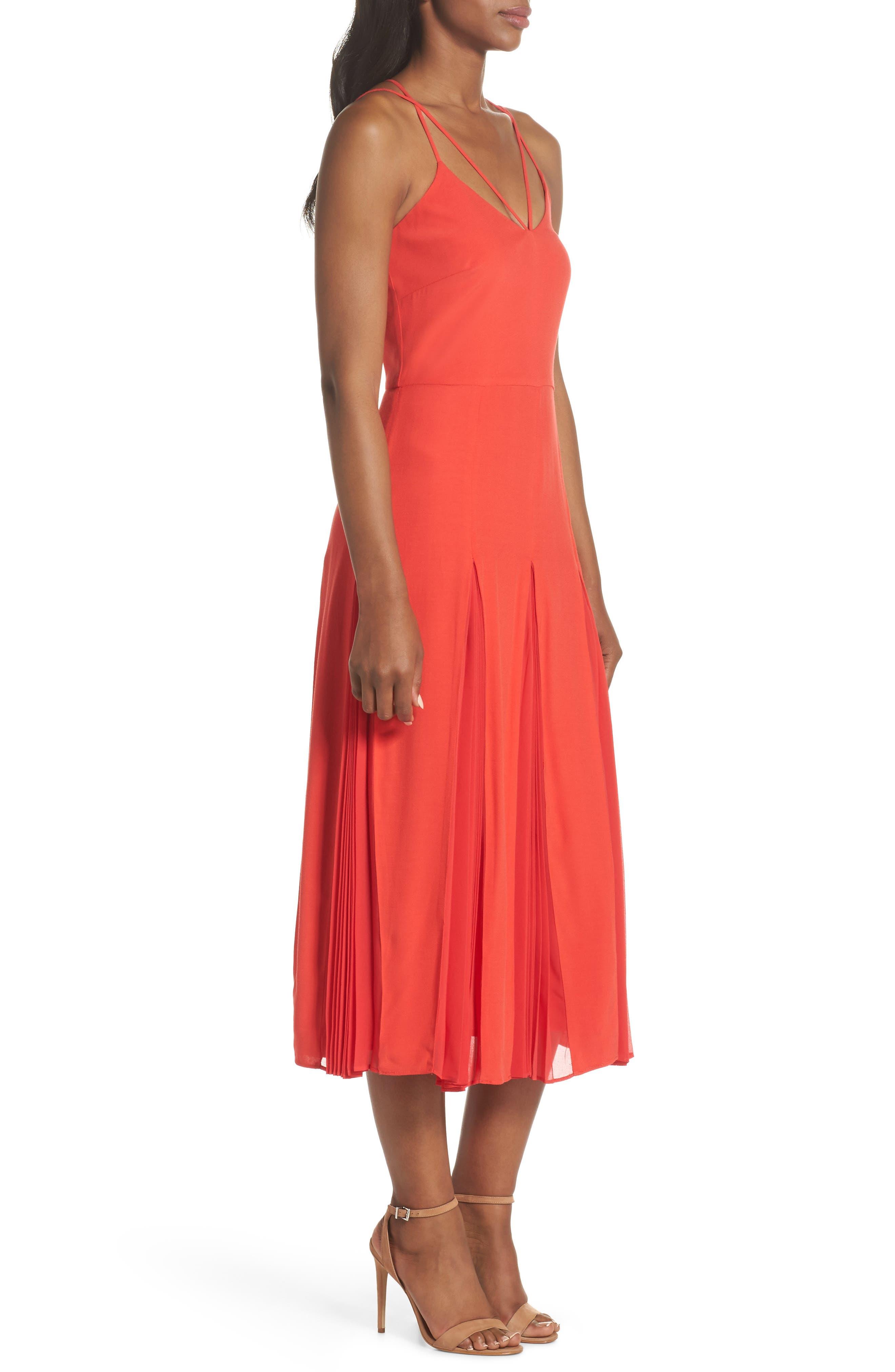 Pleated Godet Midi Dress,                             Alternate thumbnail 3, color,                             602