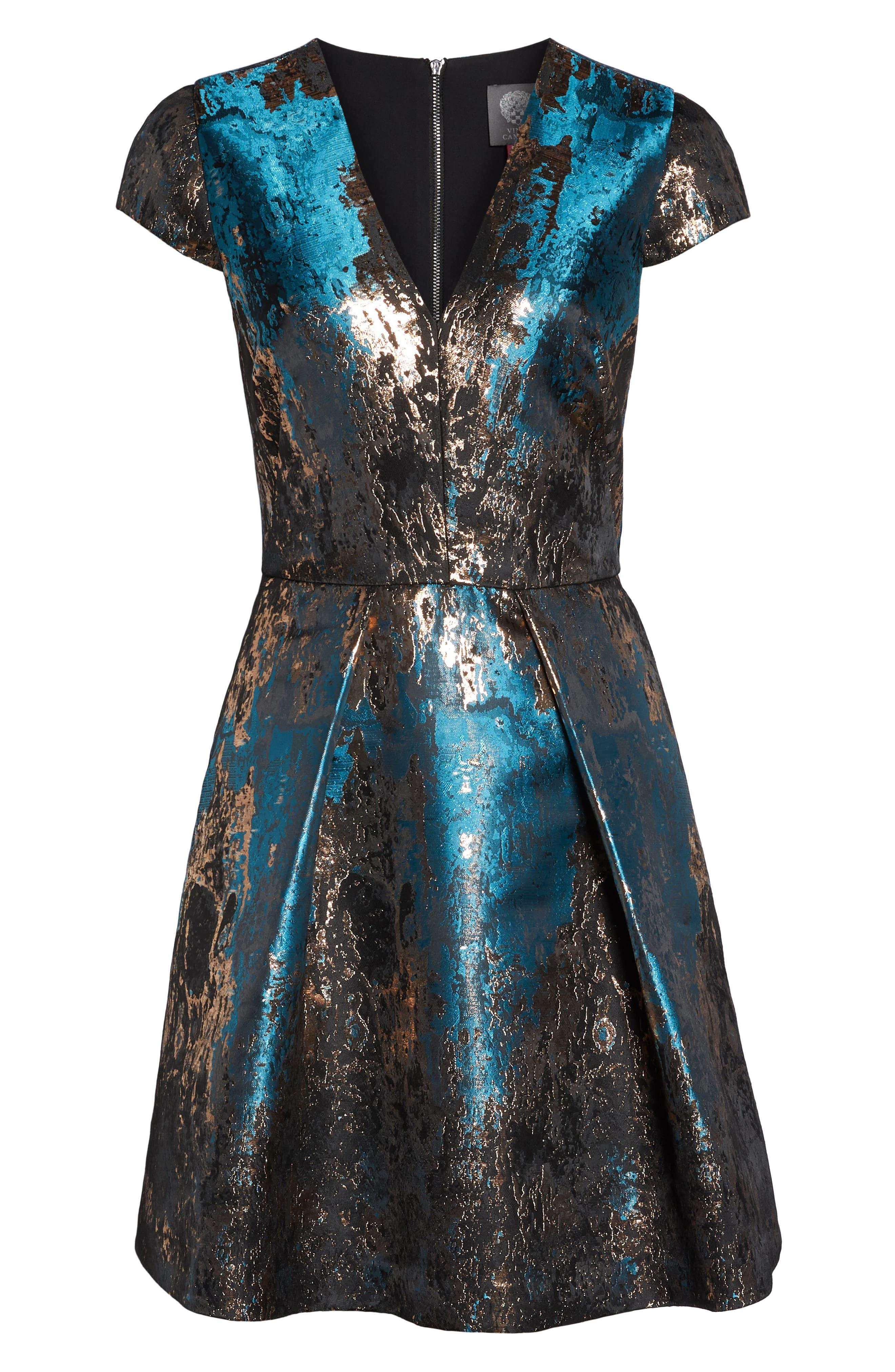 Jacquard Fit & Flare Dress,                             Alternate thumbnail 7, color,                             TEAL MULTI