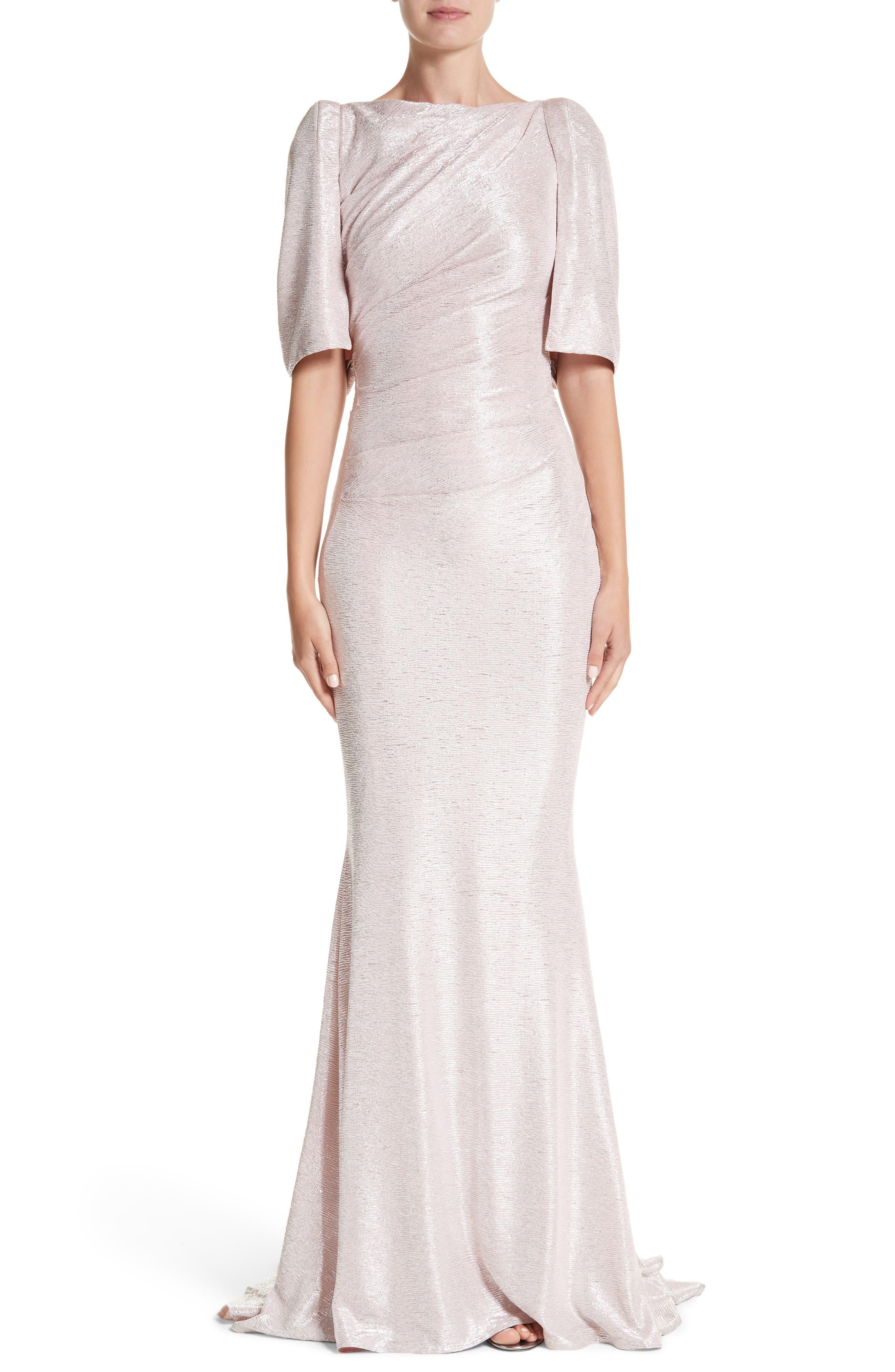 Metallic Cloqué Mermaid Gown,                         Main,                         color, BLUSH
