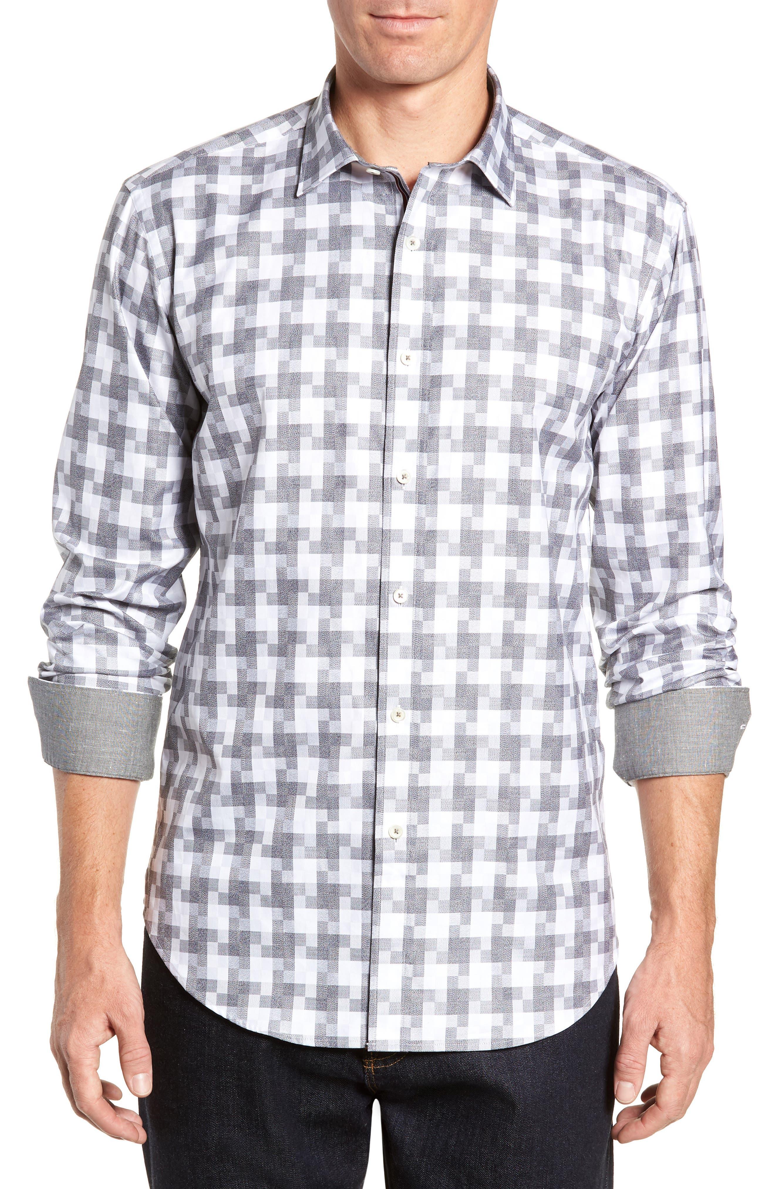 Shaped Fit Sport Shirt,                             Main thumbnail 1, color,                             PLATINUM