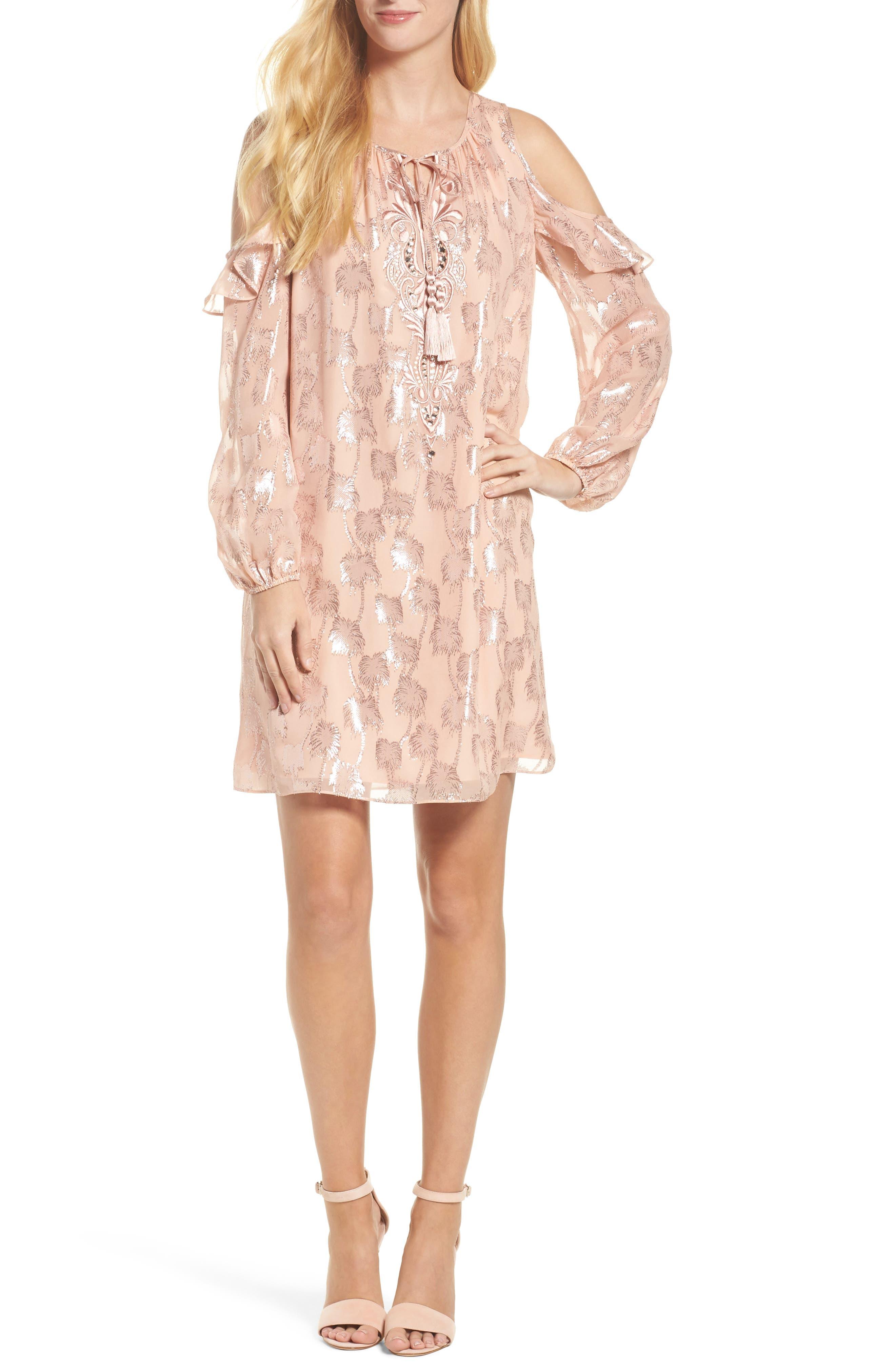 Marlyse Cold Shoulder Silk Dress,                             Main thumbnail 1, color,