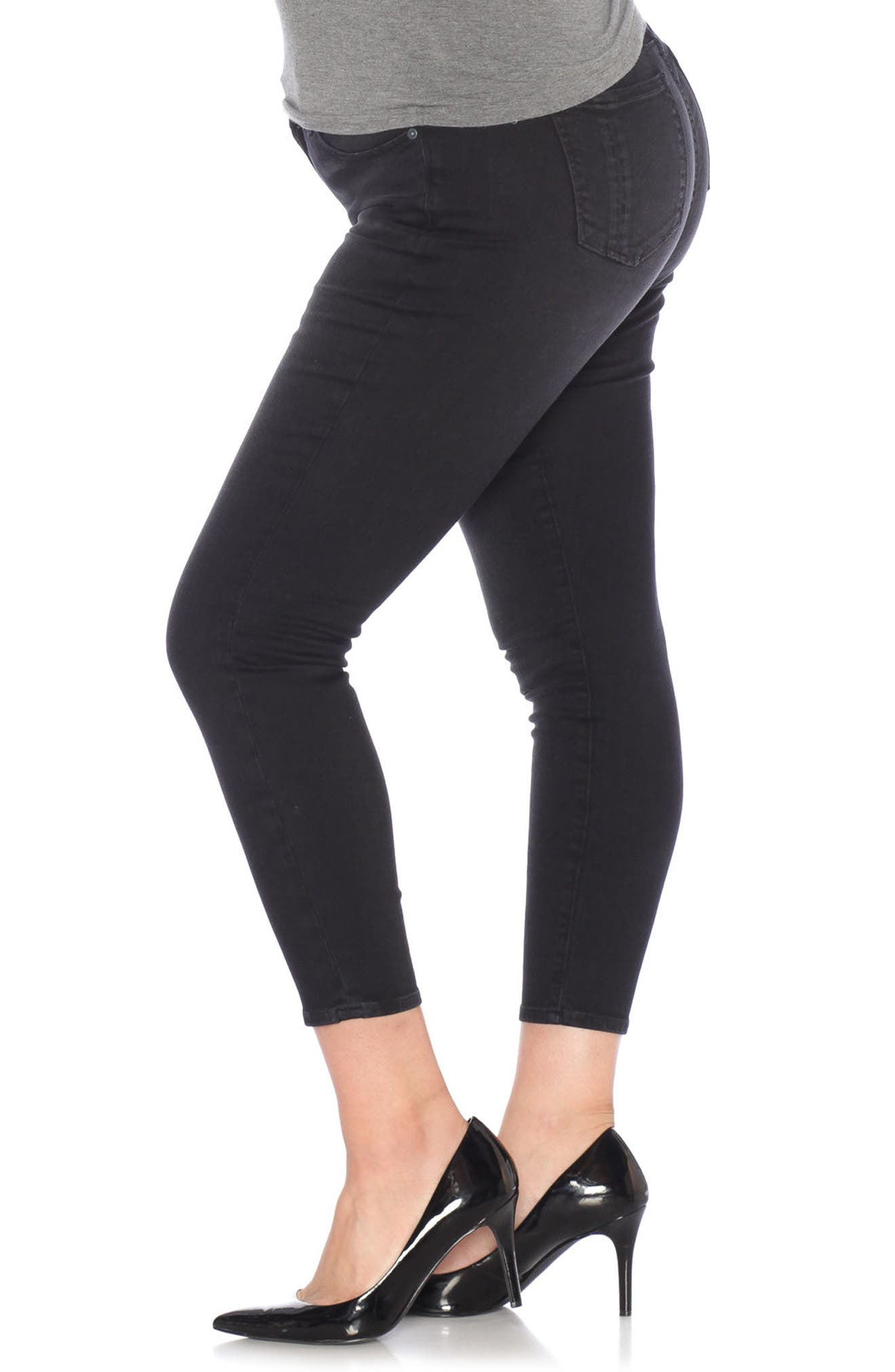 Stretch Ankle Skinny Jeans,                             Alternate thumbnail 3, color,                             001
