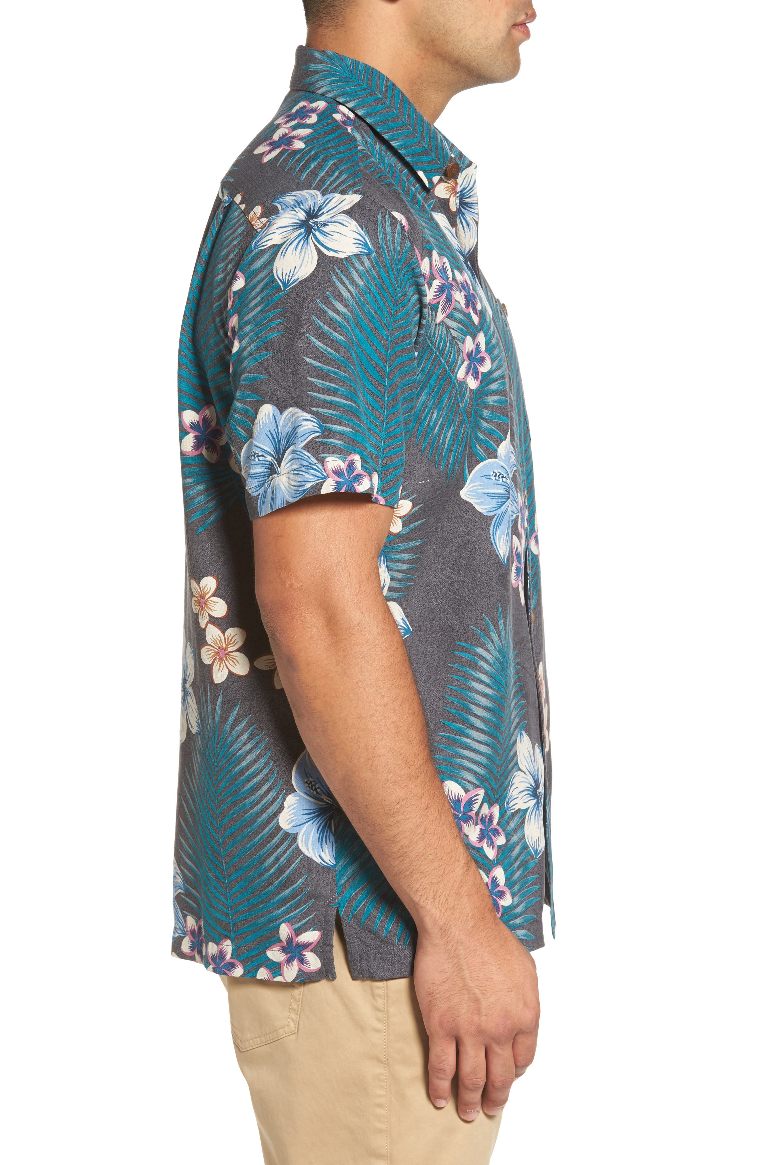 Marjorelle Blooms Silk Woven Shirt,                             Alternate thumbnail 3, color,                             001