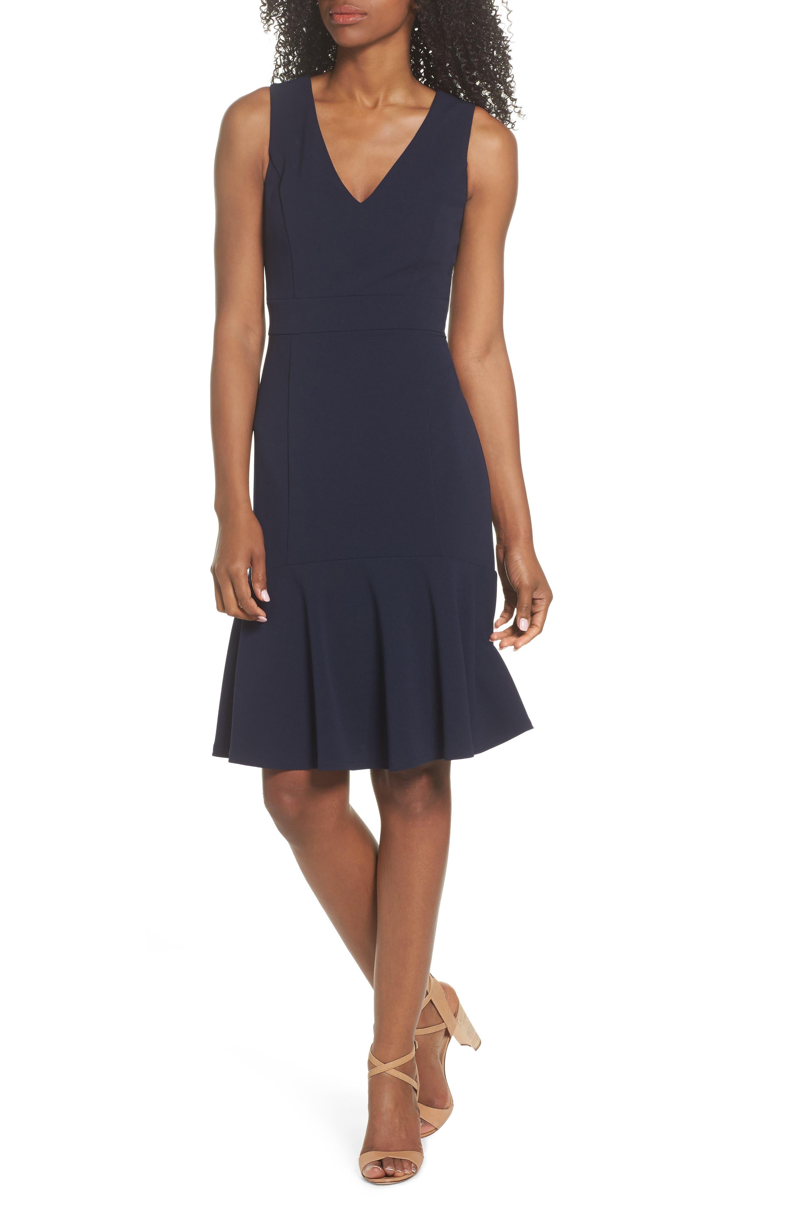 Ruffle Hem Body-Con Dress,                         Main,                         color, NAVY