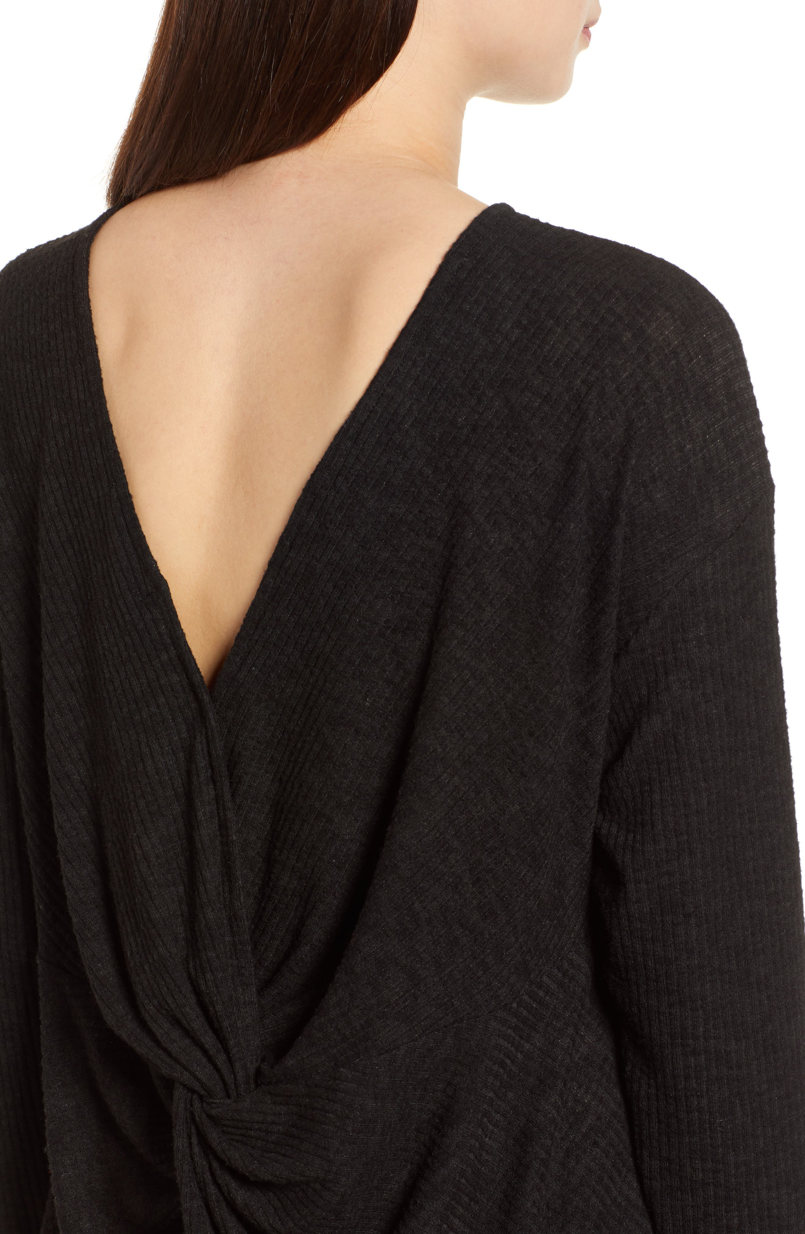 Ribbed Cozy Fleece Twist Back Top,                             Alternate thumbnail 13, color,