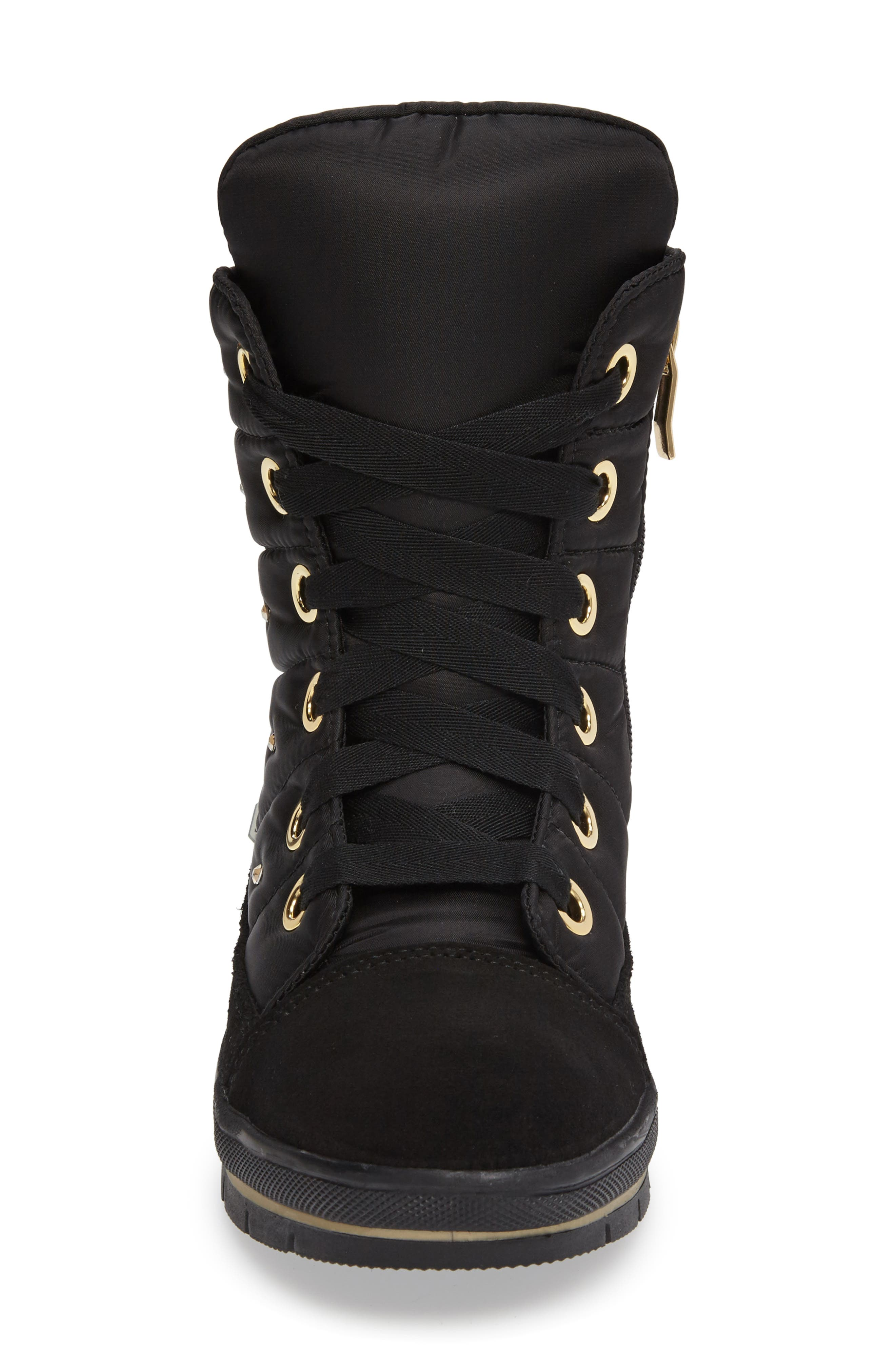 Verbier Waterproof Boot,                             Alternate thumbnail 3, color,                             BLACK / GOLD SWAROVSKI