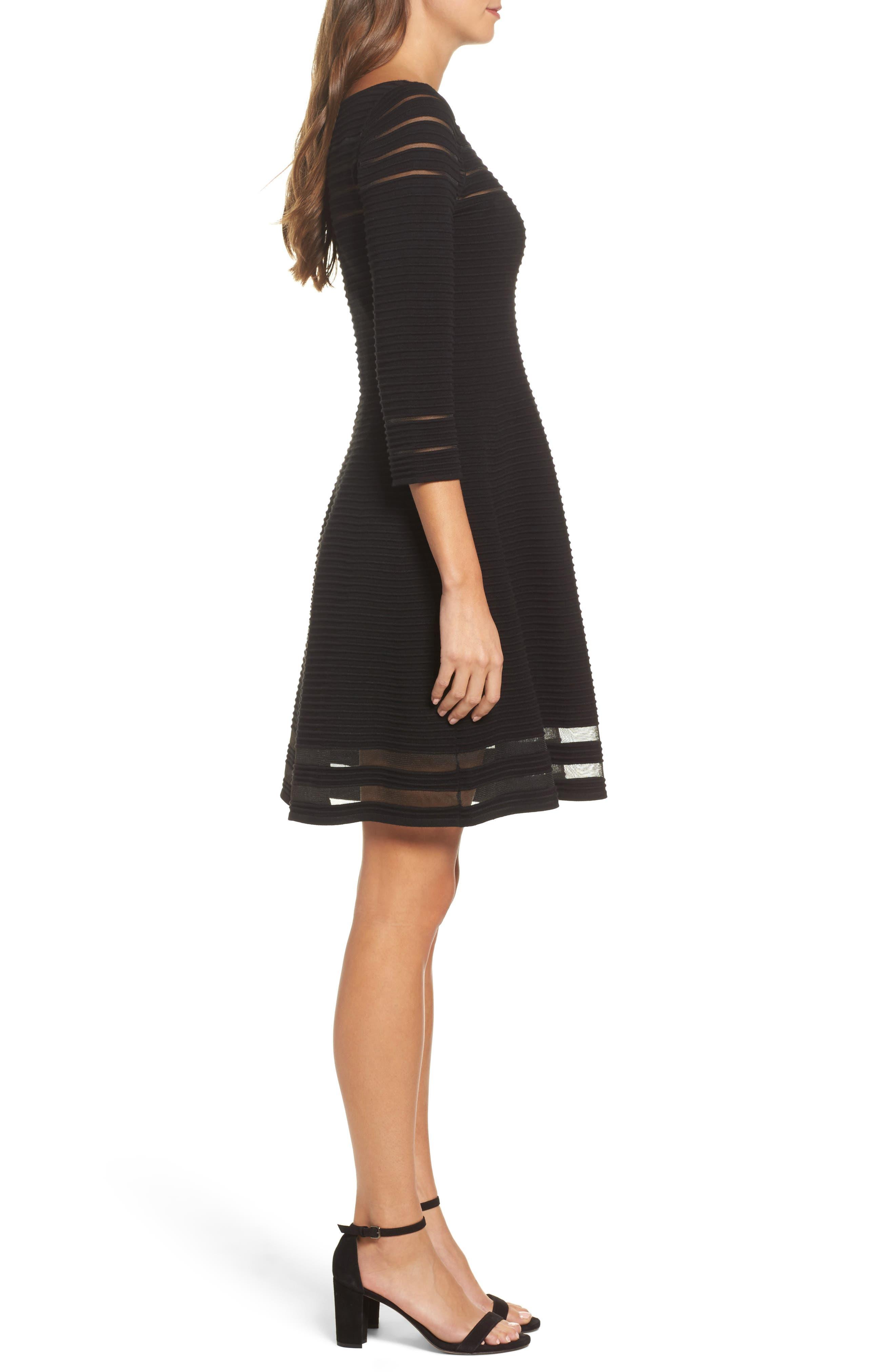 Mesh Fit & Flare Dress,                             Alternate thumbnail 3, color,                             BLACK
