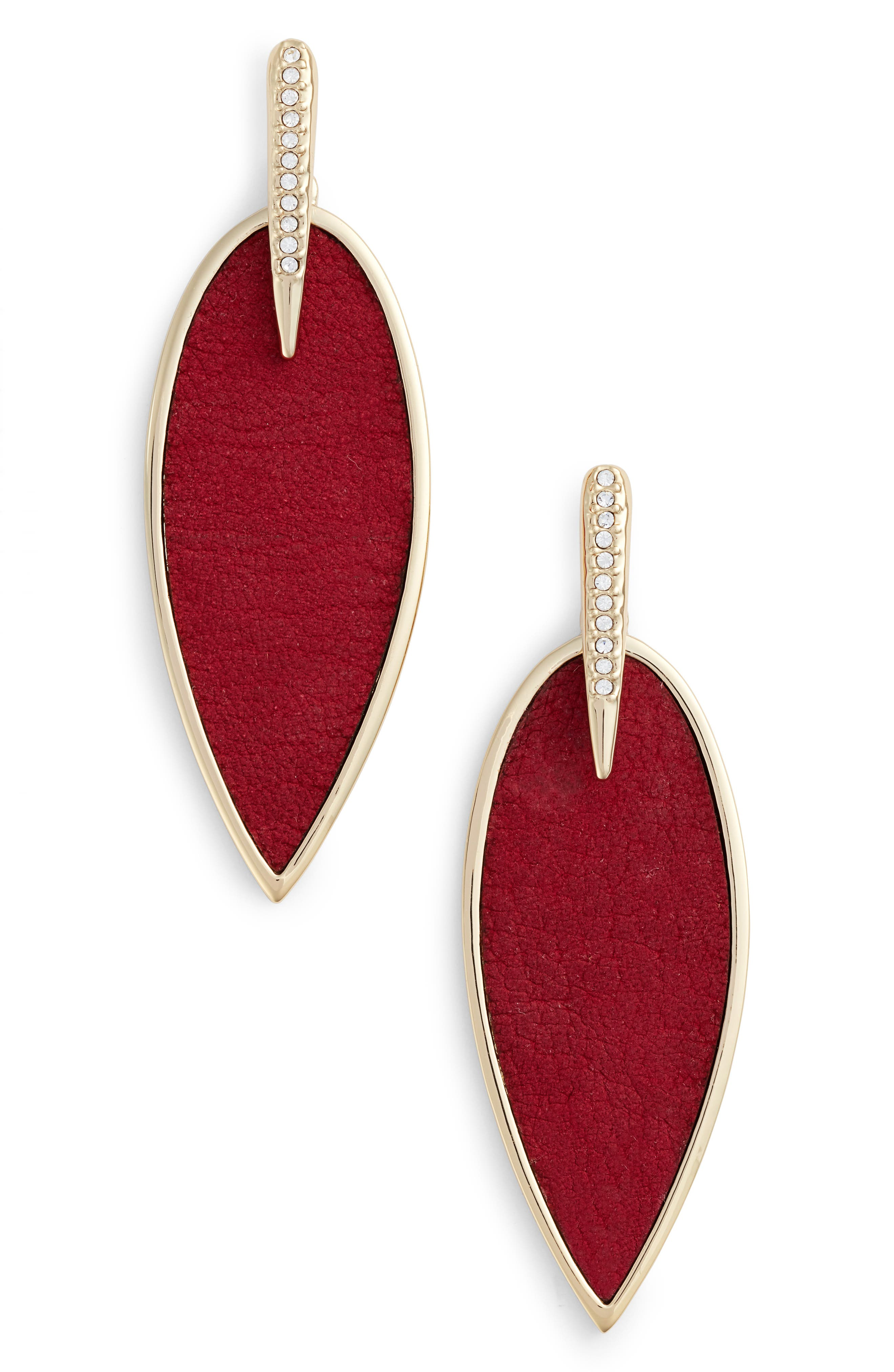 Inlaid Leather Statement Earrings,                             Main thumbnail 3, color,
