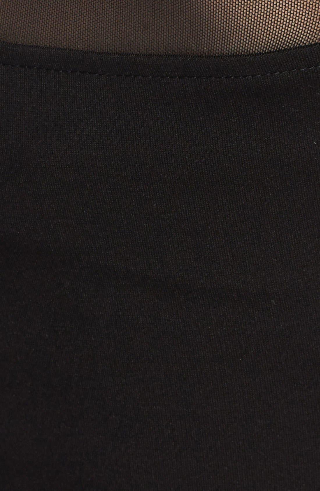 'Rhyannon' Sheer Yoke Ponte Sheath Dress,                             Alternate thumbnail 3, color,                             001