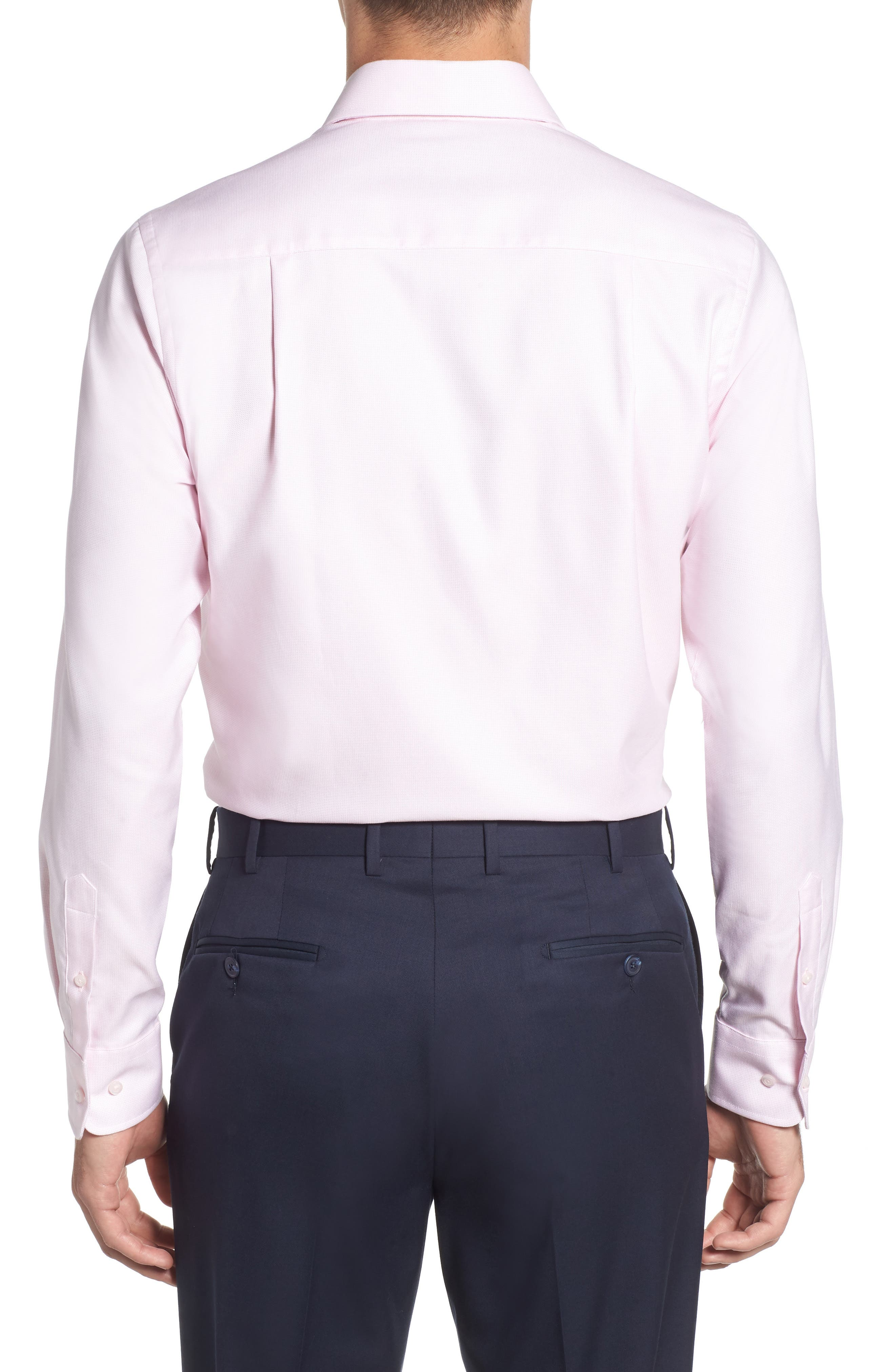 Trim Fit Solid Dress Shirt,                             Alternate thumbnail 3, color,                             PINK