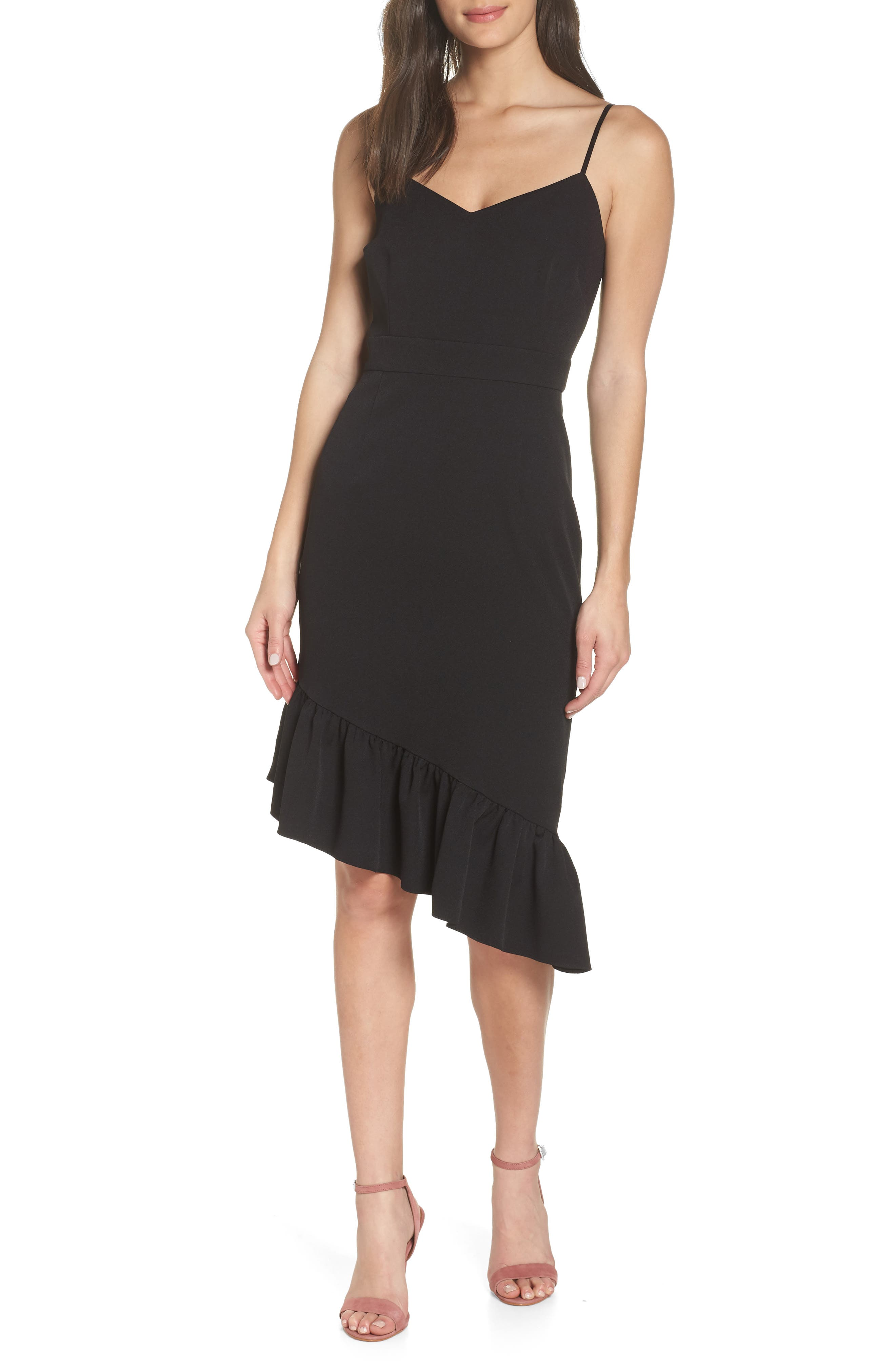 Asymmetric Ruffle Hem Dress,                         Main,                         color, 001