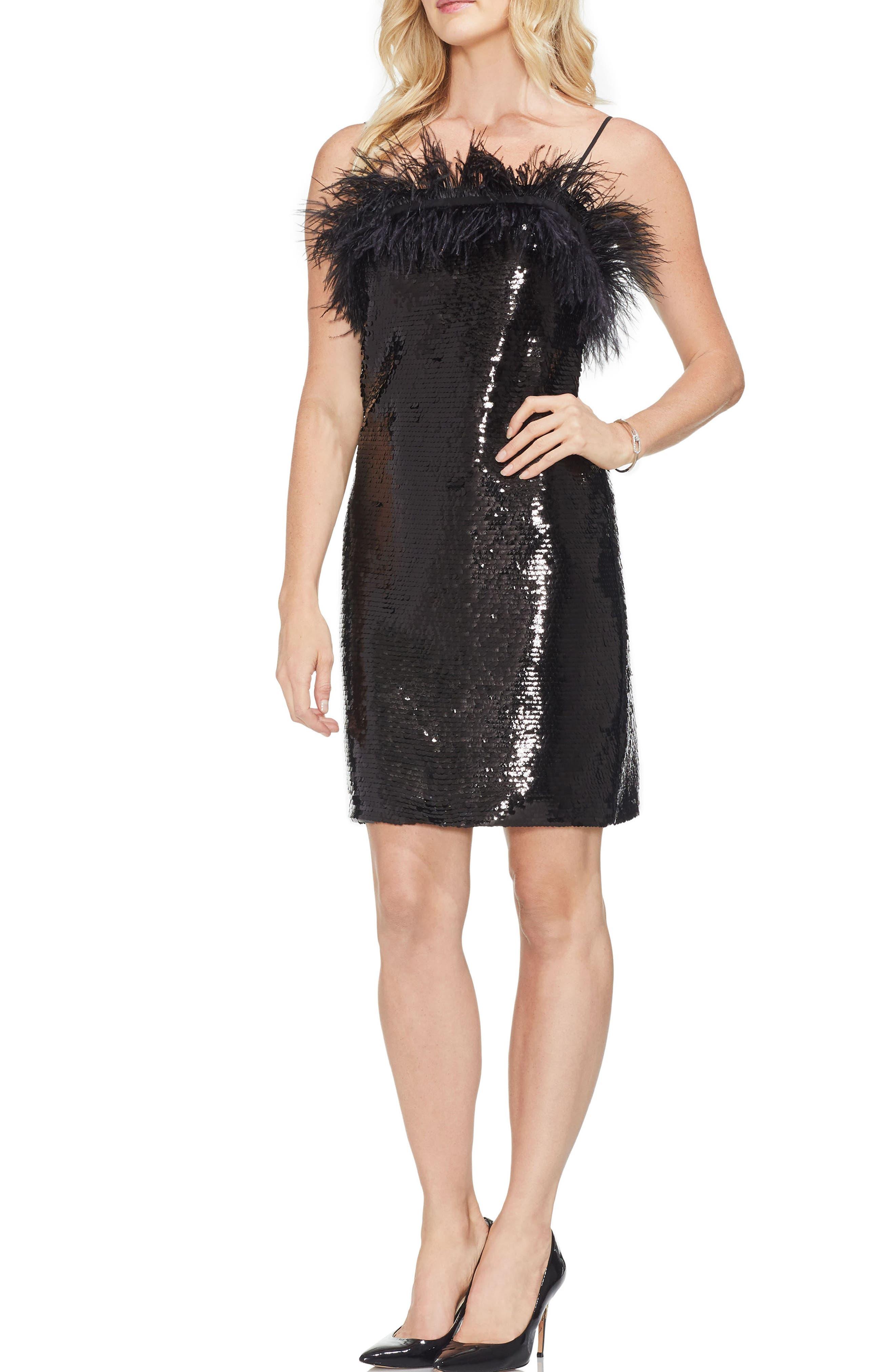 Feather Detail Sequin Dress,                             Main thumbnail 1, color,                             006