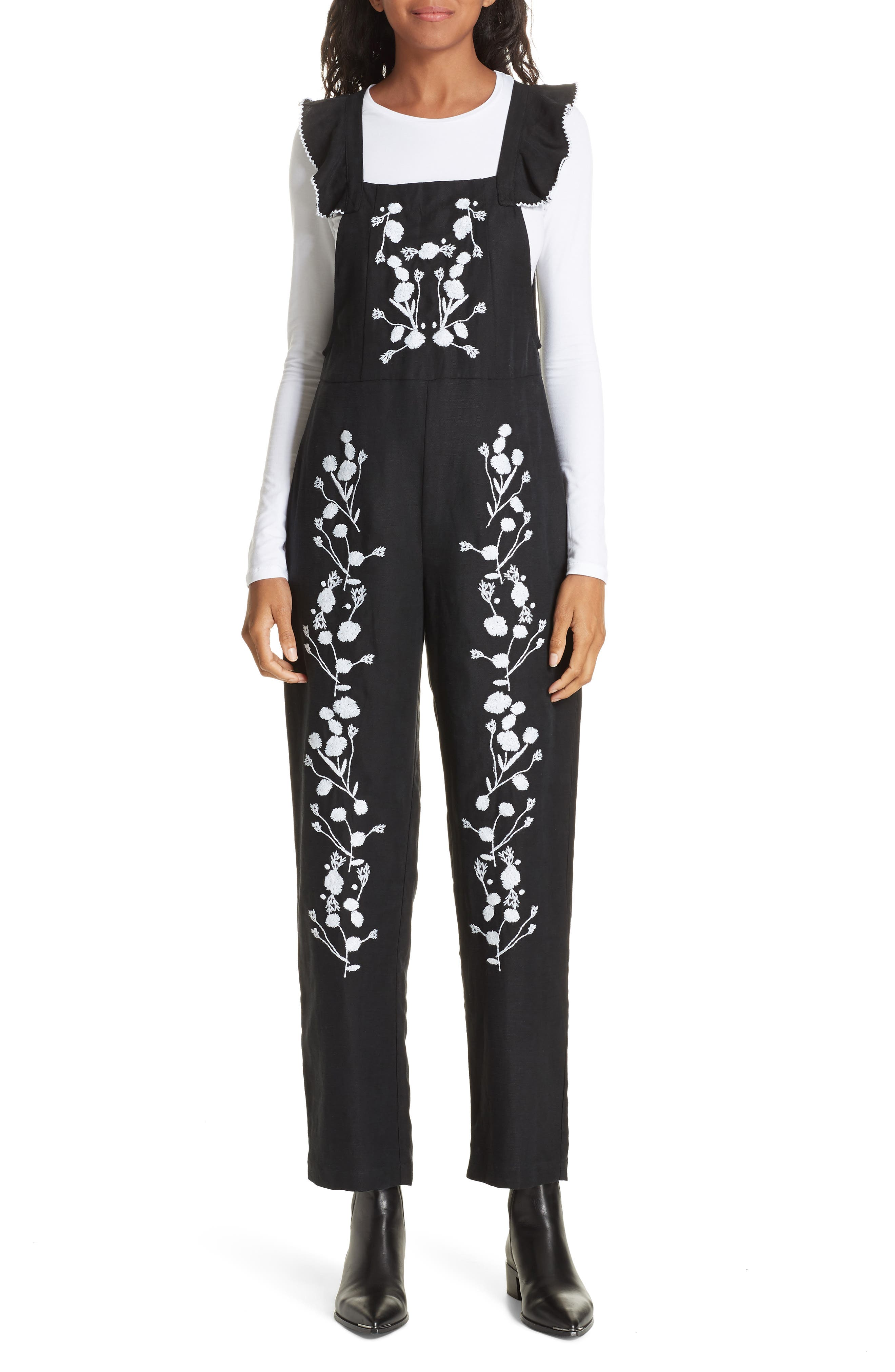 Flounced Embroidered Jumpsuit,                             Main thumbnail 1, color,                             BLACK