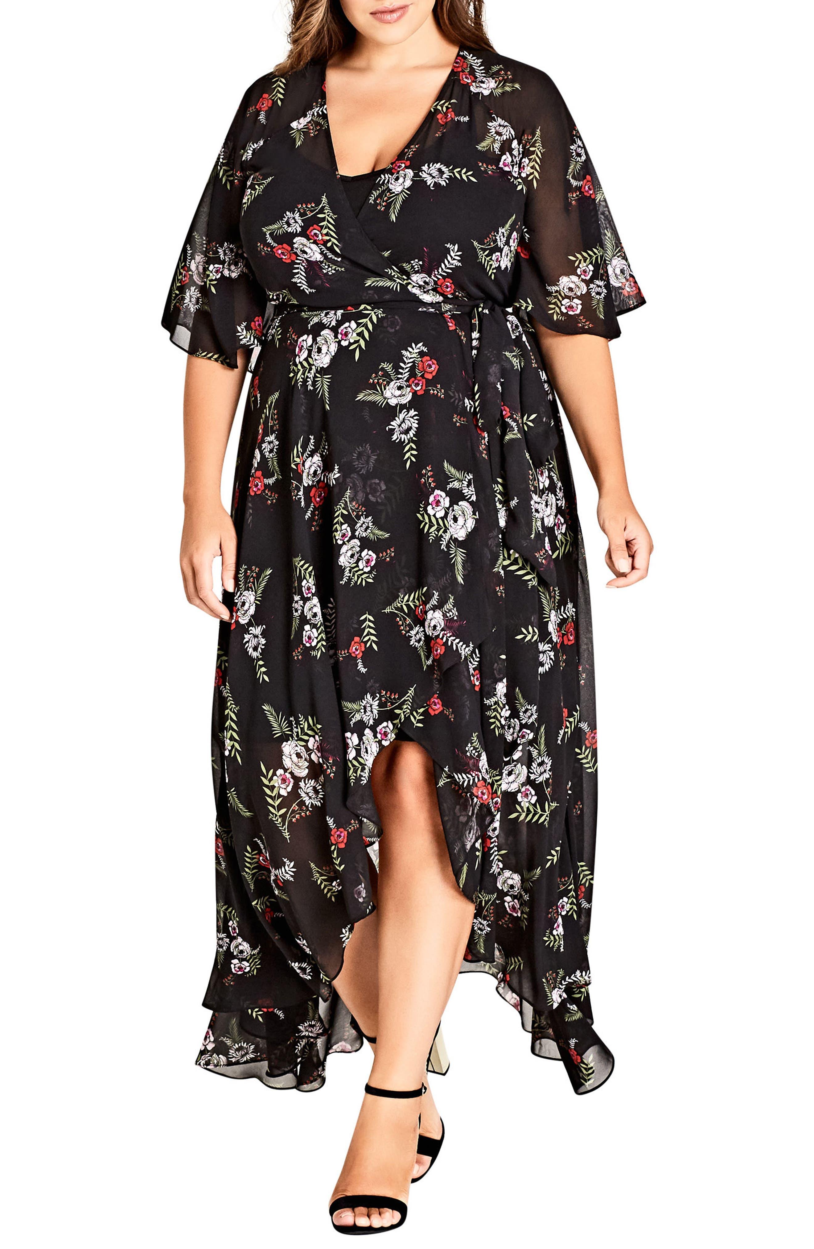 Plus Size City Chic Floral Agave Wrap Dress