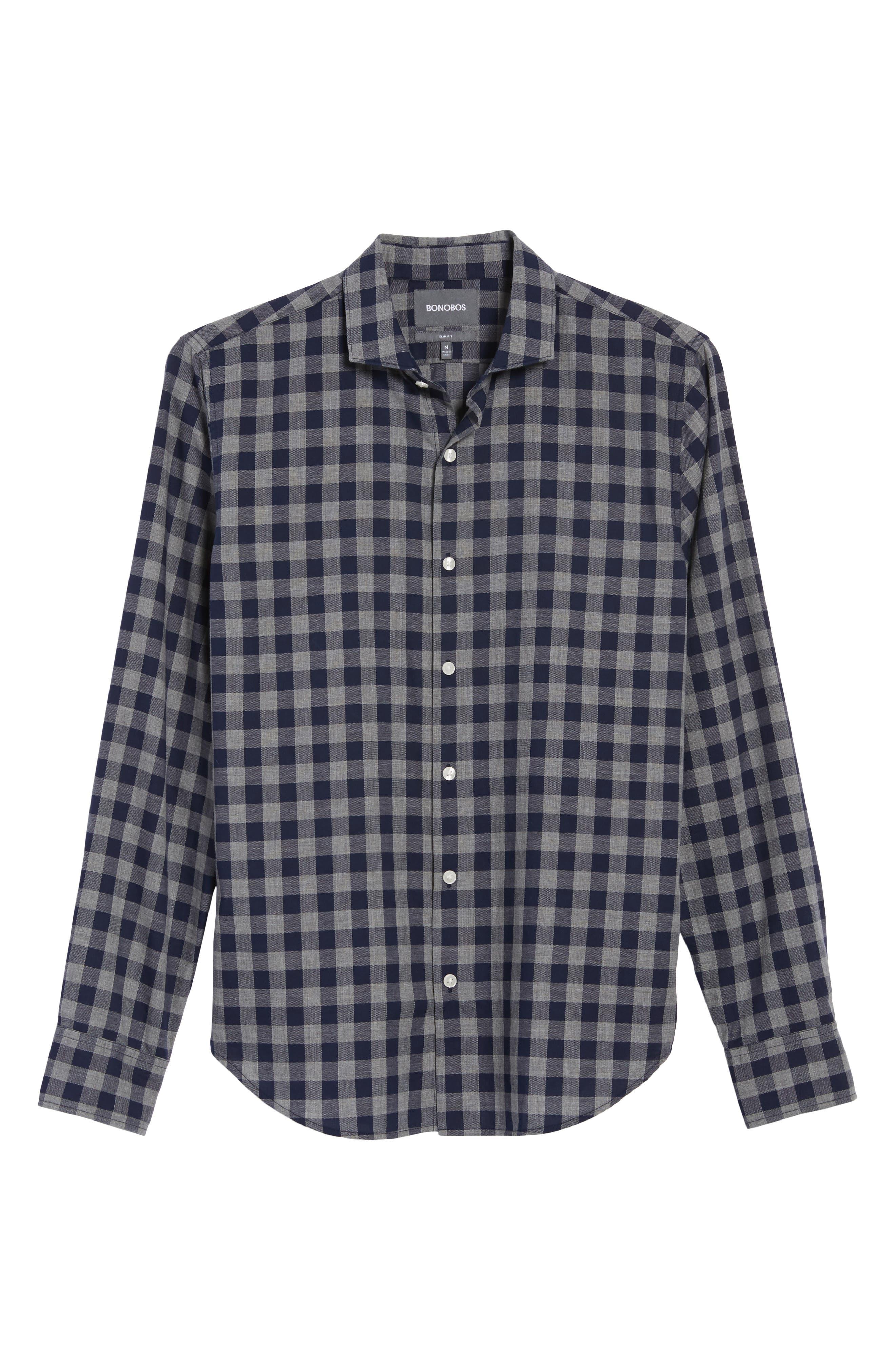 Unbutton Down Slim Fit Check Sport Shirt,                             Alternate thumbnail 6, color,                             400
