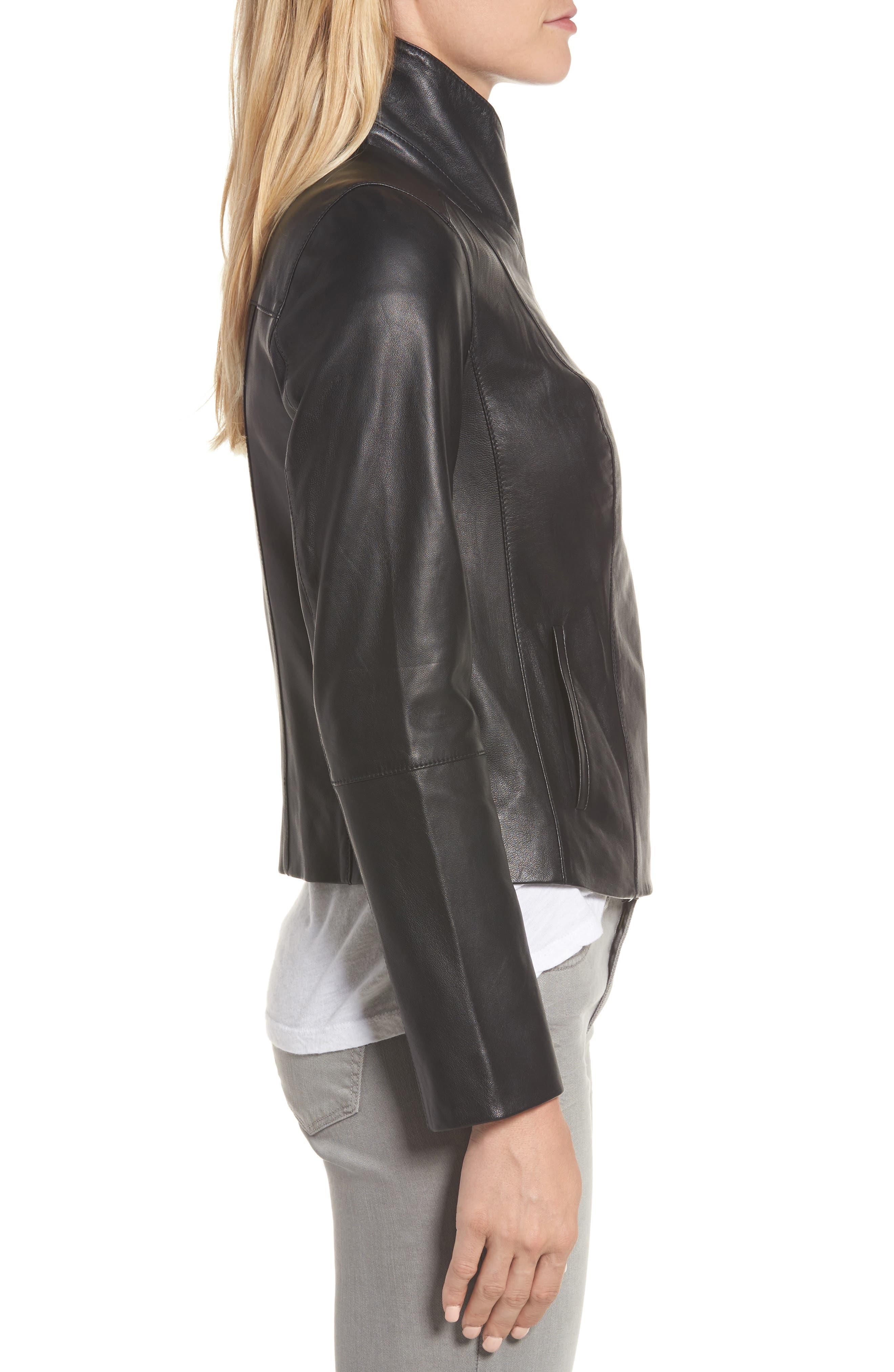 Front Zip Leather Jacket,                             Alternate thumbnail 3, color,                             001