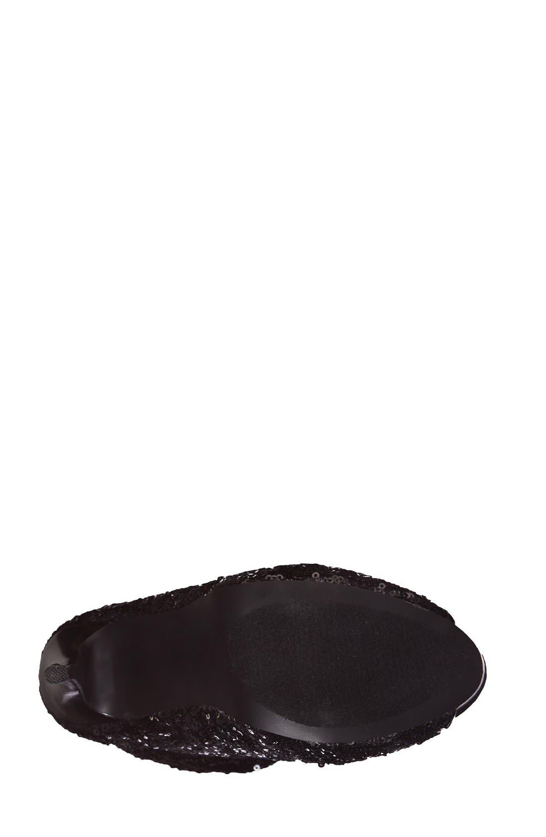 'Erin' Sequin Peep Toe Bootie,                             Alternate thumbnail 4, color,                             001