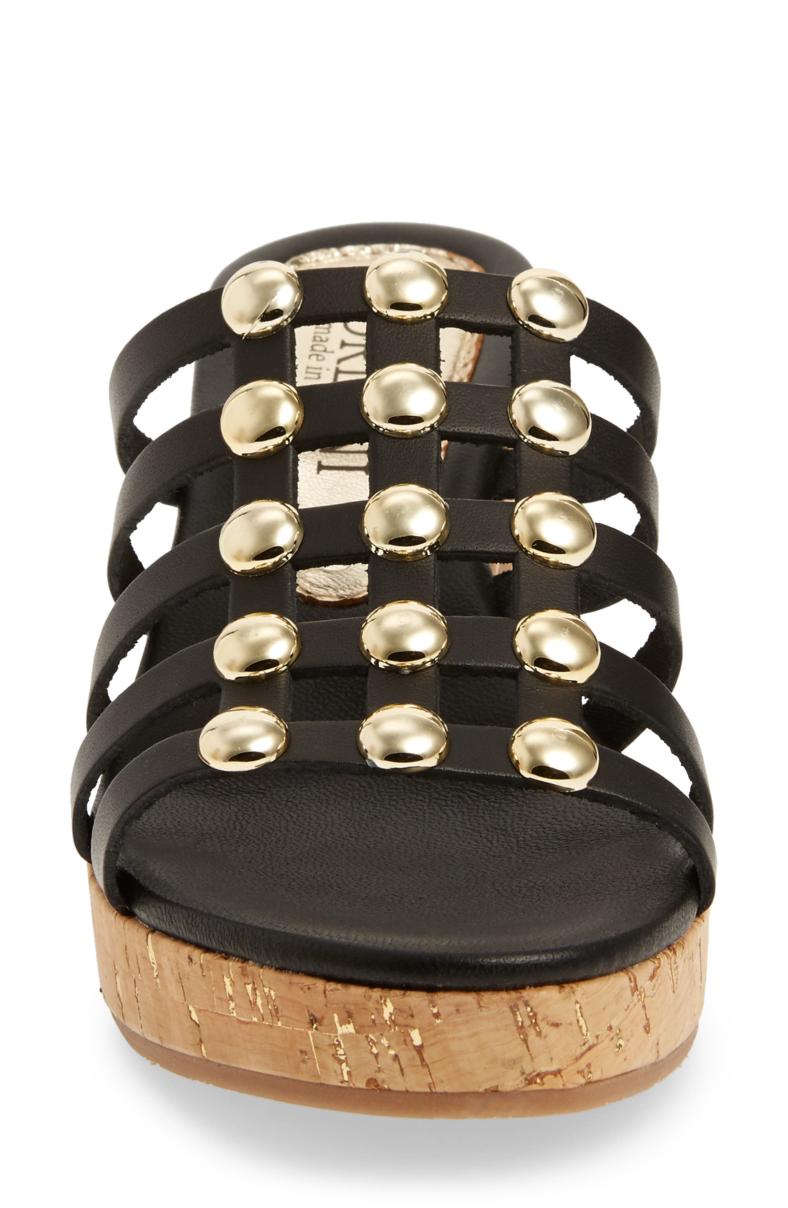 Keane Studded Slide Sandal,                             Alternate thumbnail 4, color,                             BLACK LEATHER