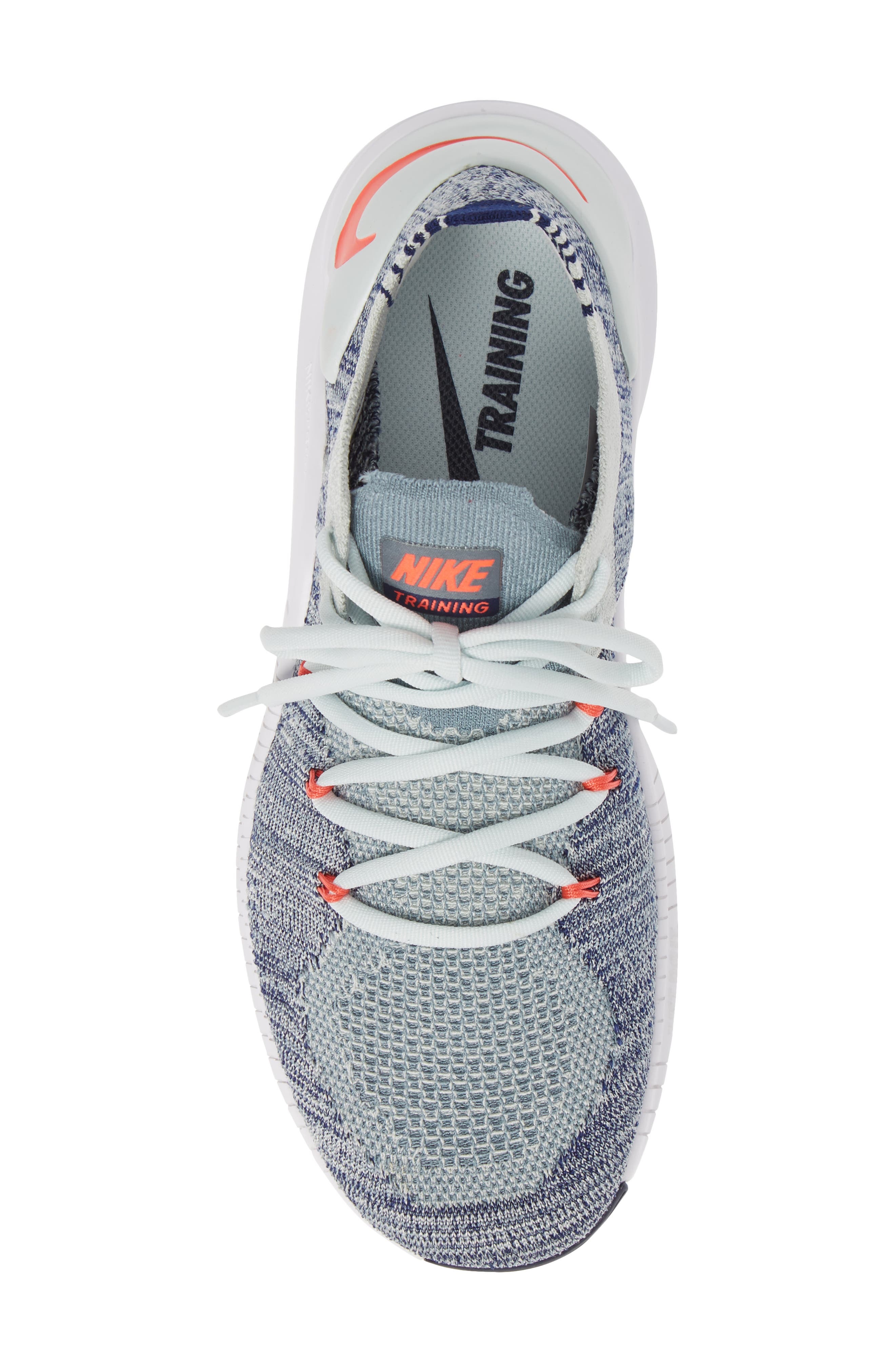 Free TR Flyknit 3 Training Shoe,                             Alternate thumbnail 5, color,                             BARELY GREY/ EMBER GLOW/ BLUE