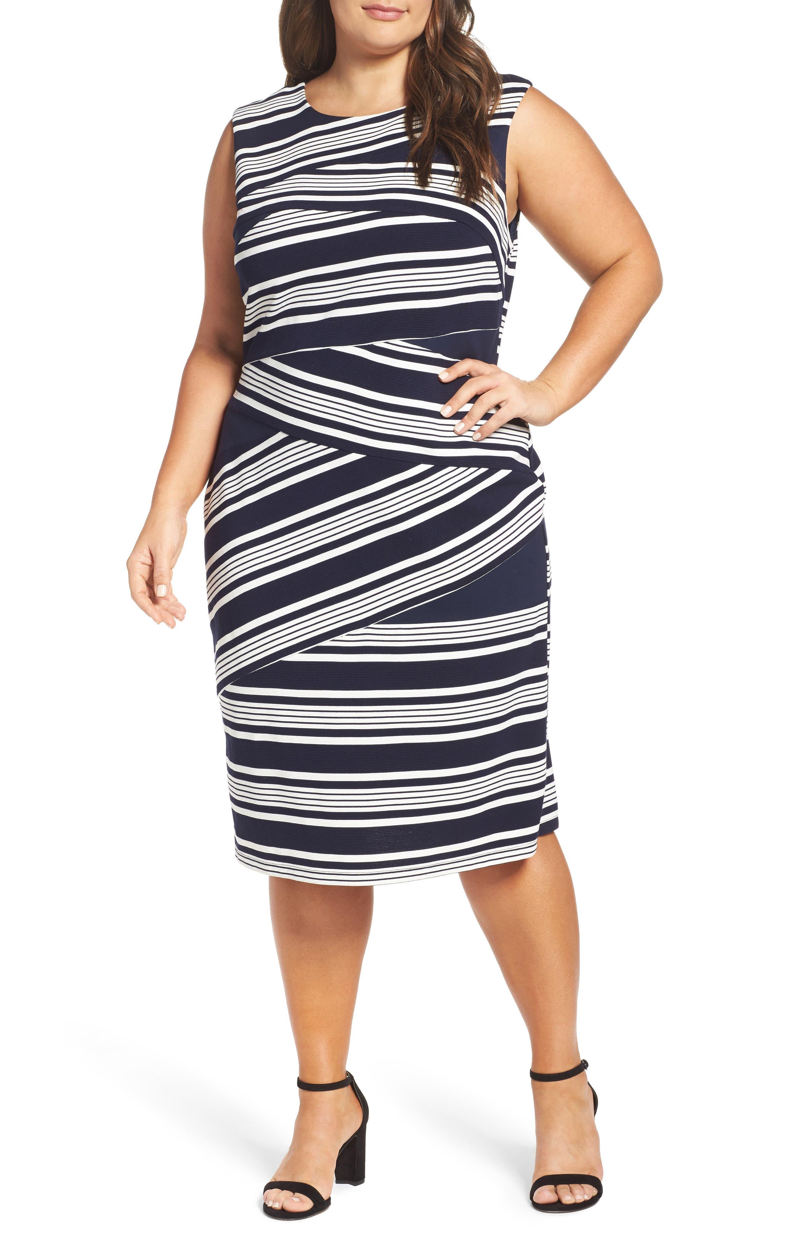 Stripe Body-Con Dress,                             Main thumbnail 1, color,                             484