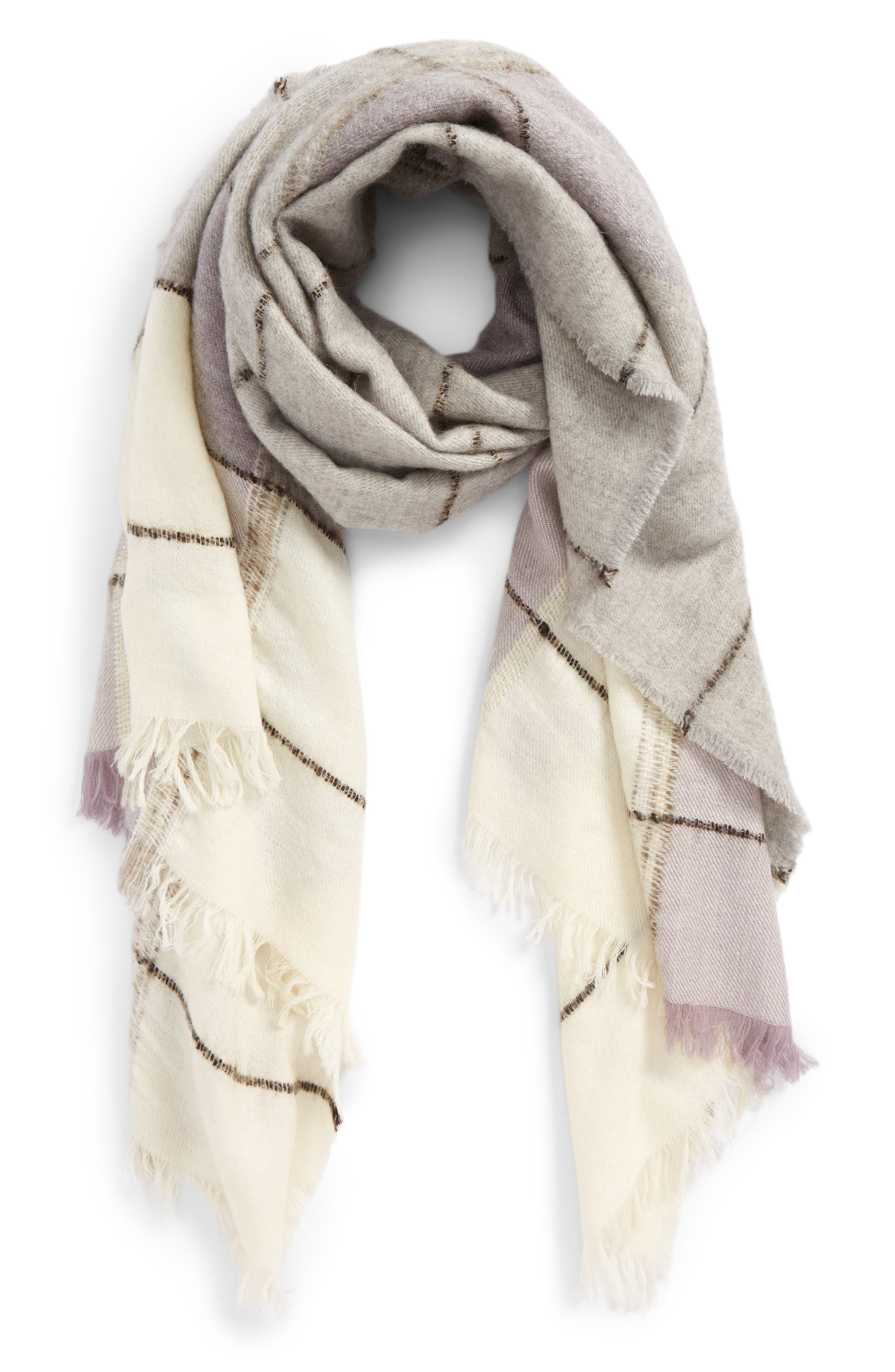 Brushed Colorblock Scarf,                         Main,                         color, 020