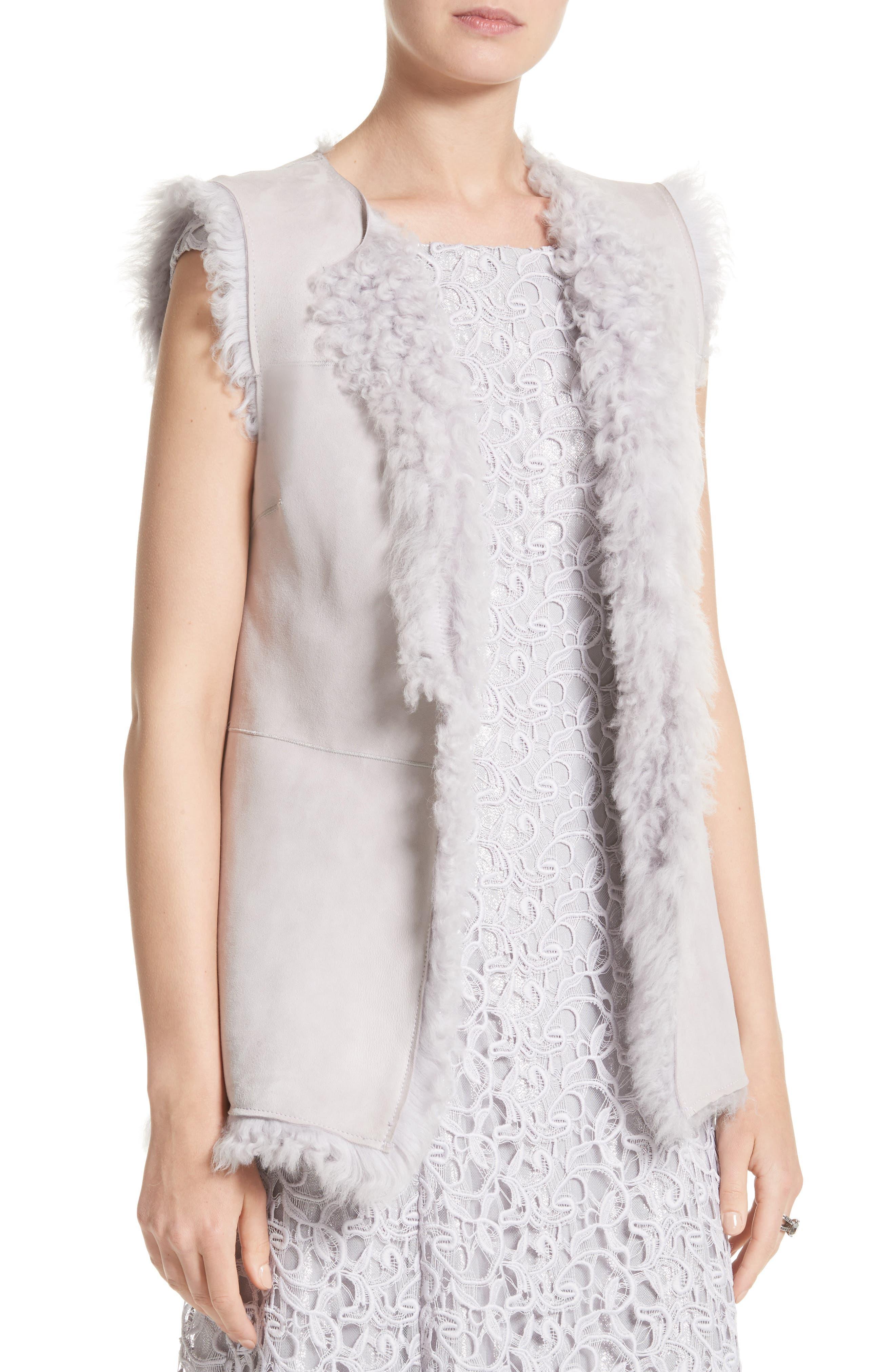 St John Collection Reversible Genuine Curly Lamb Fur Vest,                             Alternate thumbnail 2, color,                             500