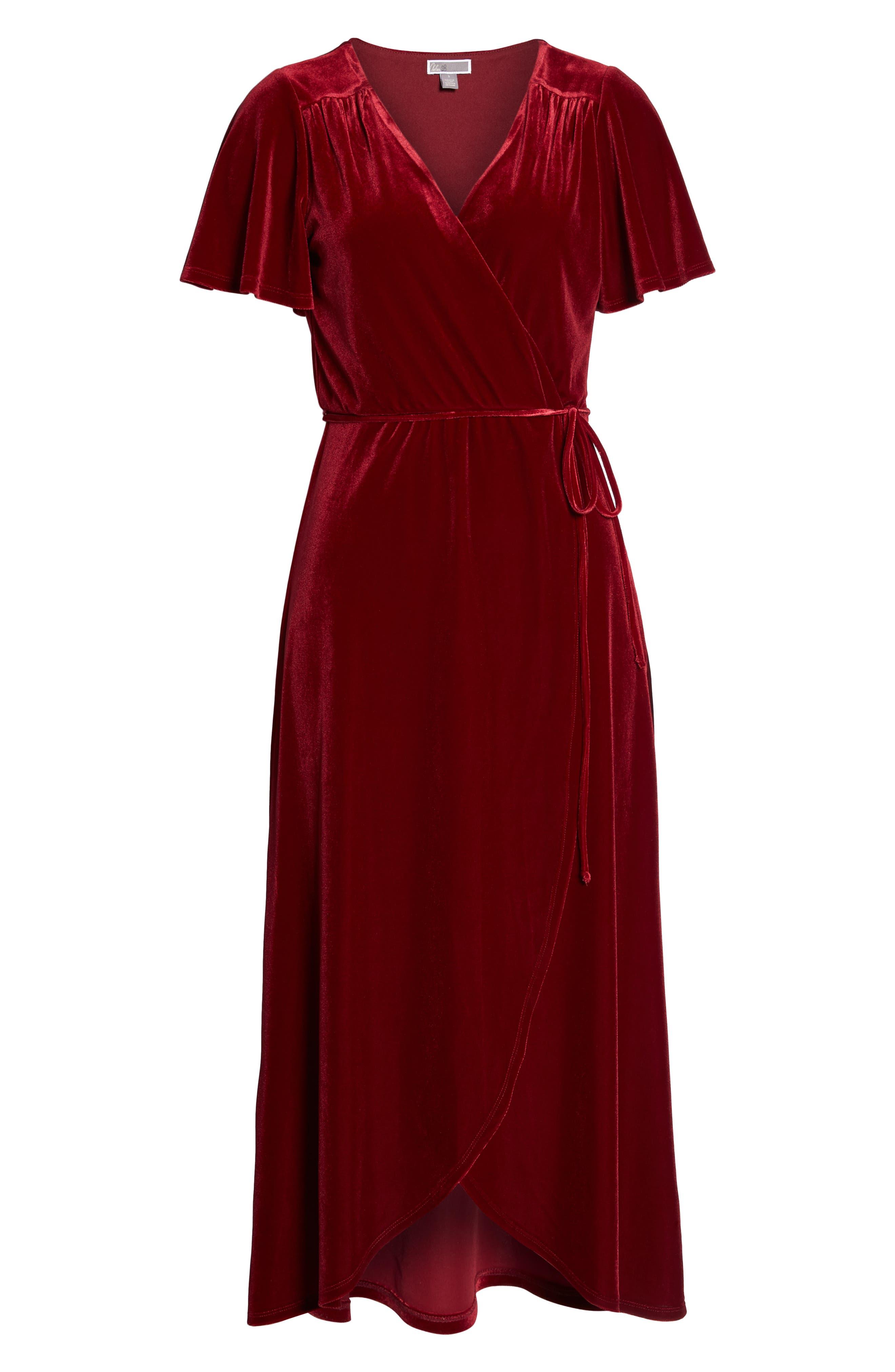 Velvet Midi Dress,                             Alternate thumbnail 7, color,                             RED TIBETAN