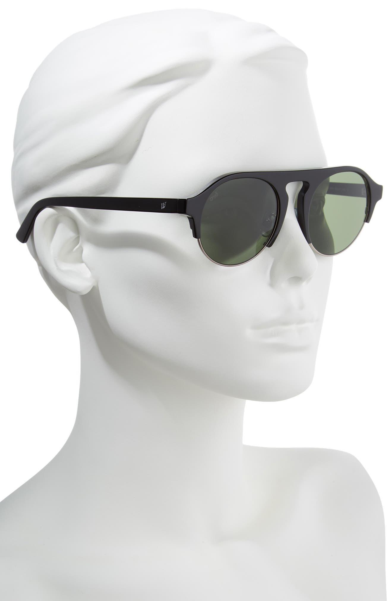 52mm Sunglasses,                             Alternate thumbnail 2, color,                             SHINY BLACK/ GREEN