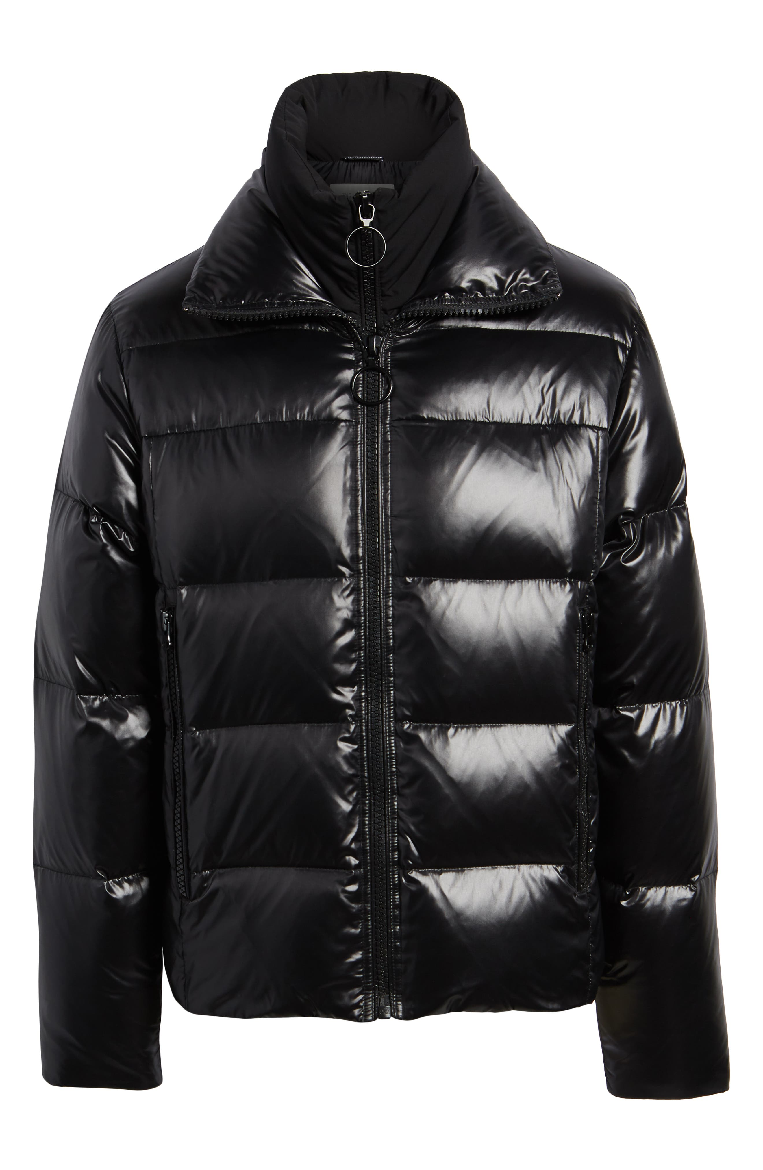 Logan Water Repellent Down & Feather Fill Puffer Jacket,                             Alternate thumbnail 6, color,                             BLACK