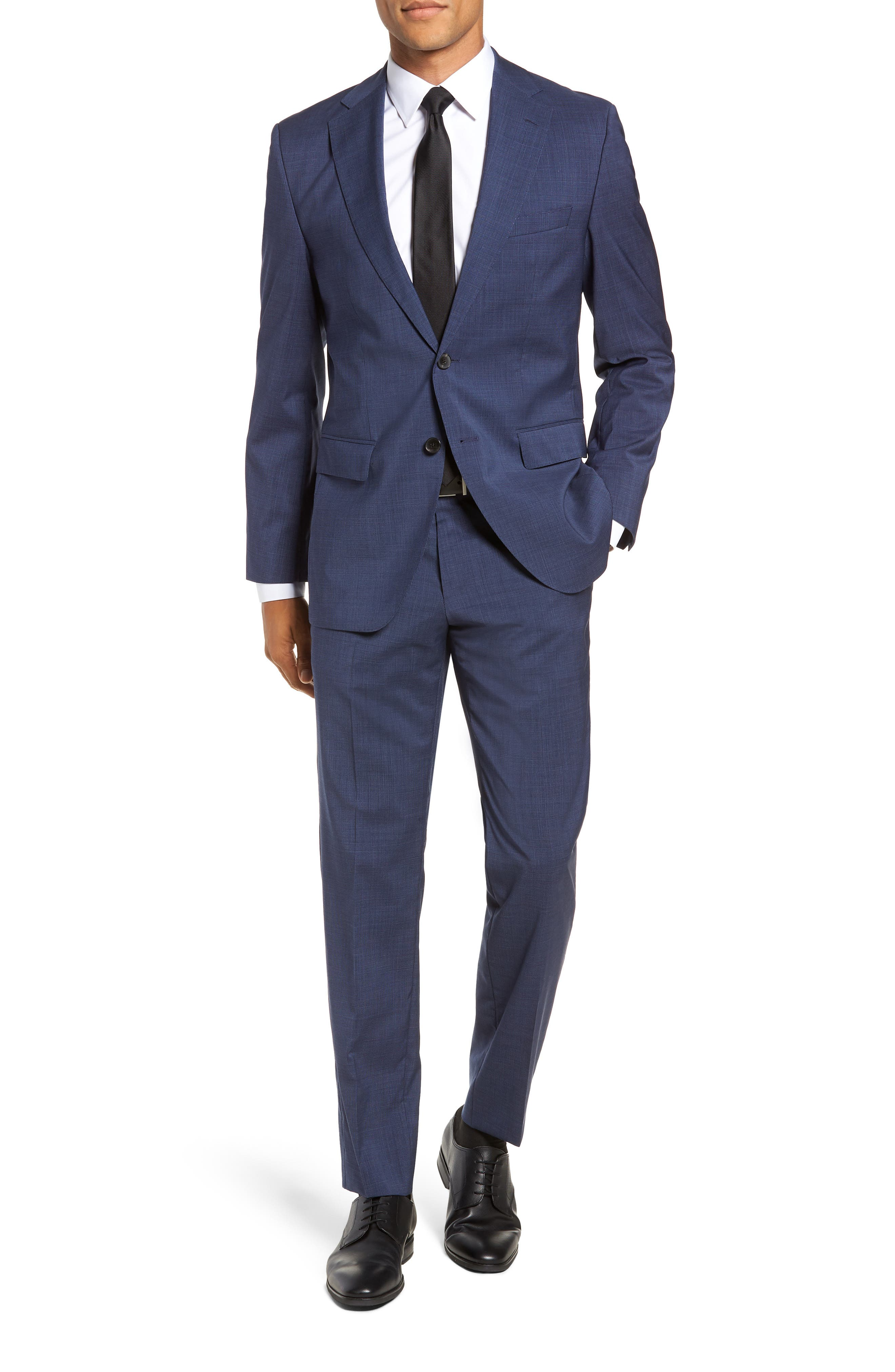 Johnstons/Lenon Classic Fit Houndstooth Wool Suit, Main, color, BLUE