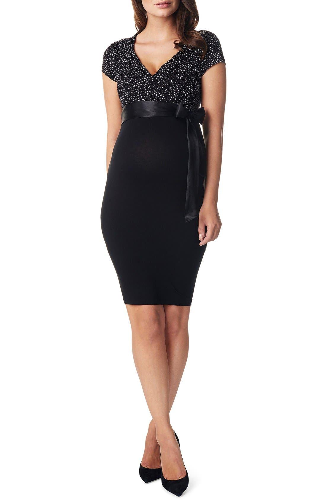 'Zarita' Stretch Jersey Maternity Dress,                         Main,                         color, BLACK