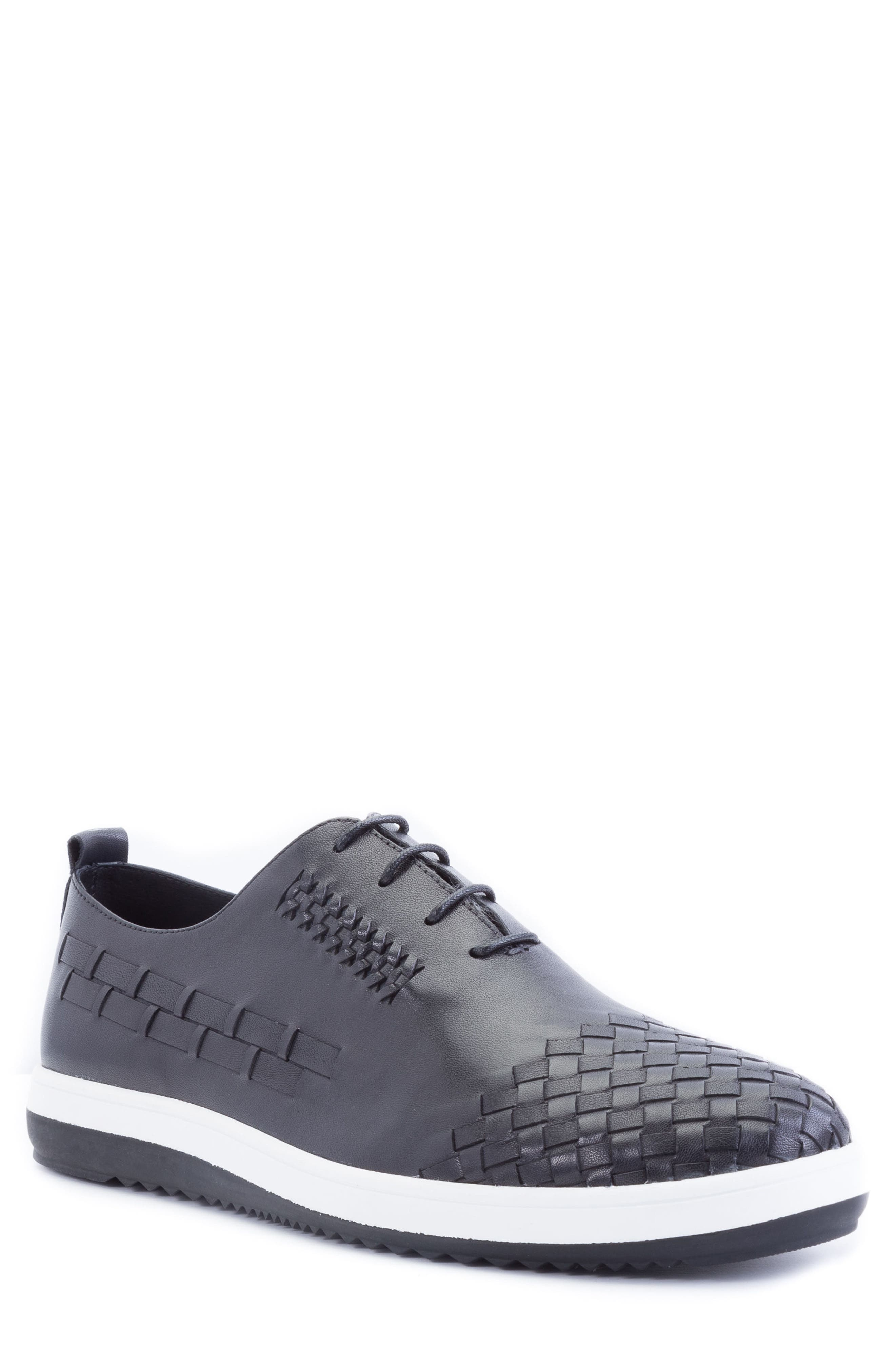 Digital Woven Cap Toe Sneaker,                             Main thumbnail 1, color,                             BLACK LEATHER