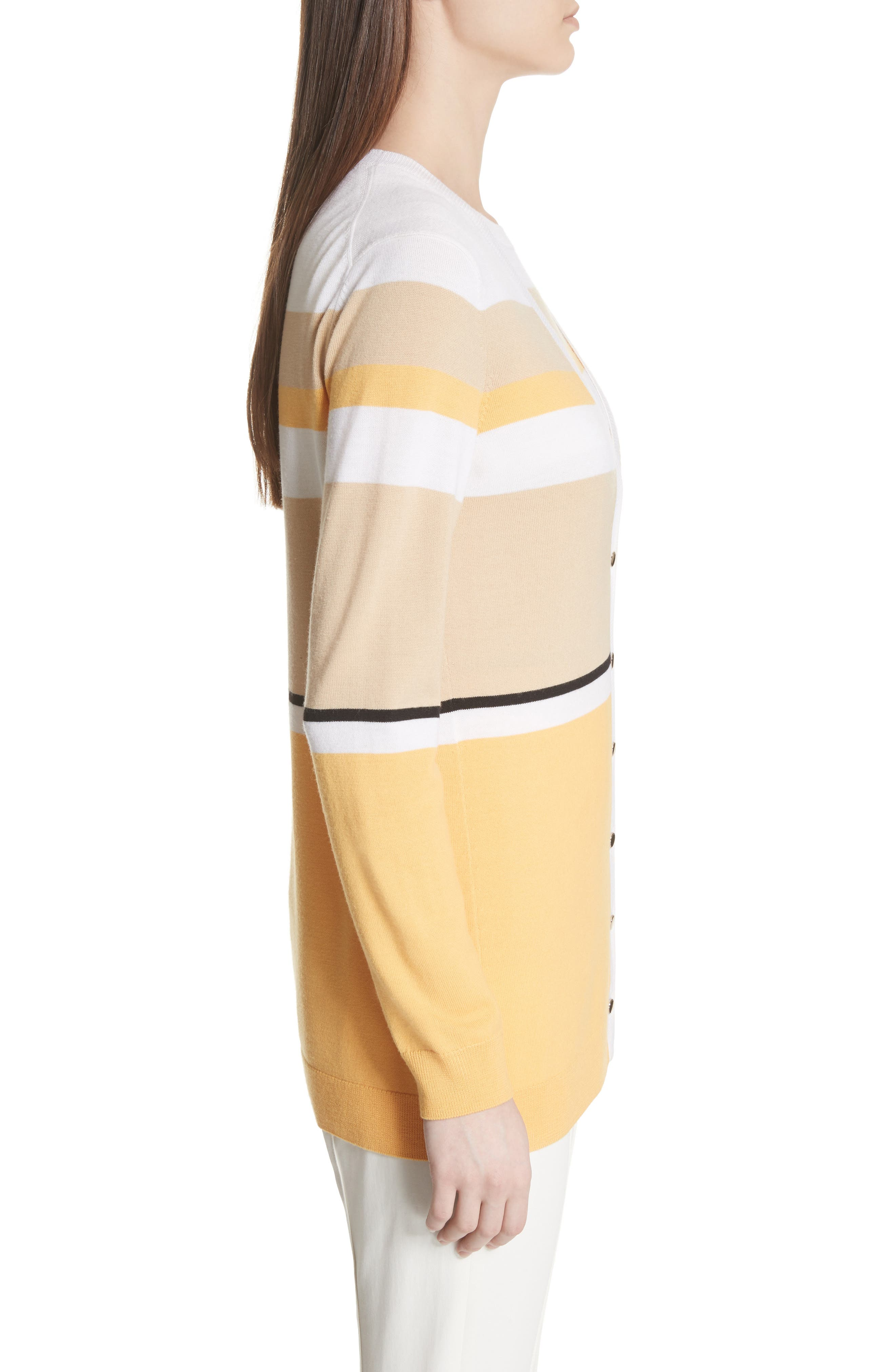 Stripe Jersey Knit Cardigan,                             Alternate thumbnail 3, color,                             WHITE MULTI