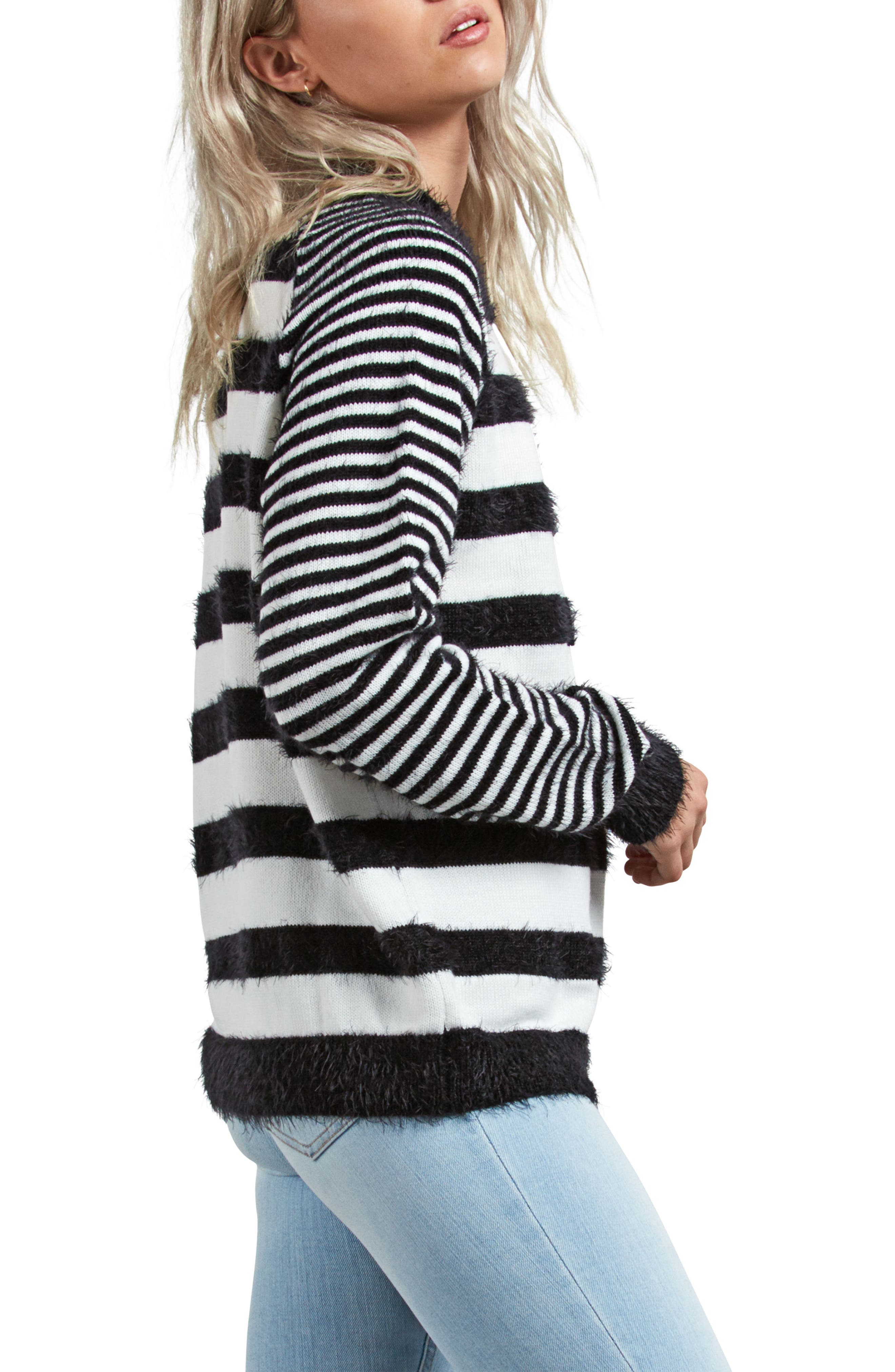 Need Space Stripe Sweater,                             Alternate thumbnail 3, color,                             BLACK