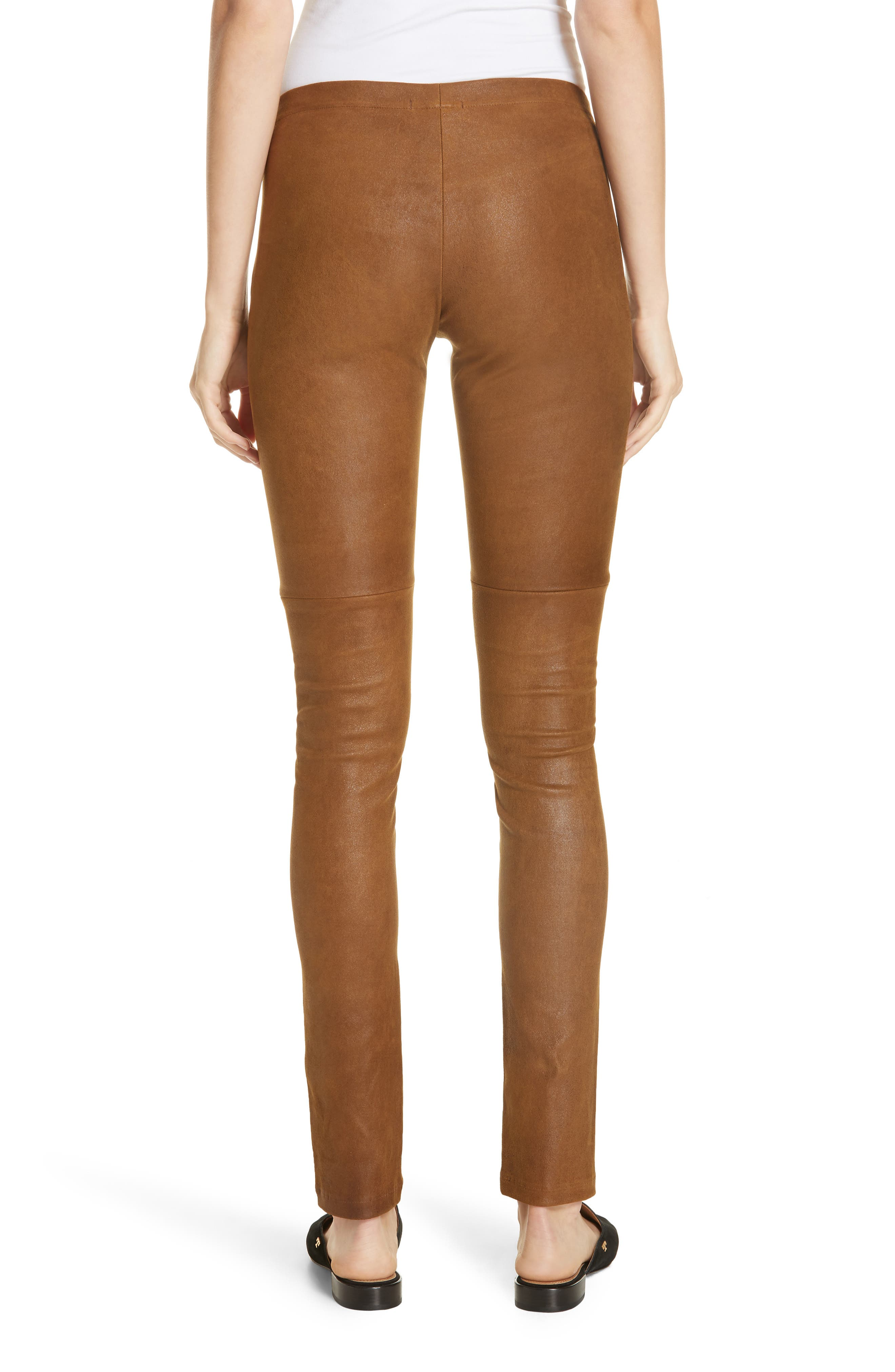 Esther Leather Leggings,                             Alternate thumbnail 2, color,                             CUMIN