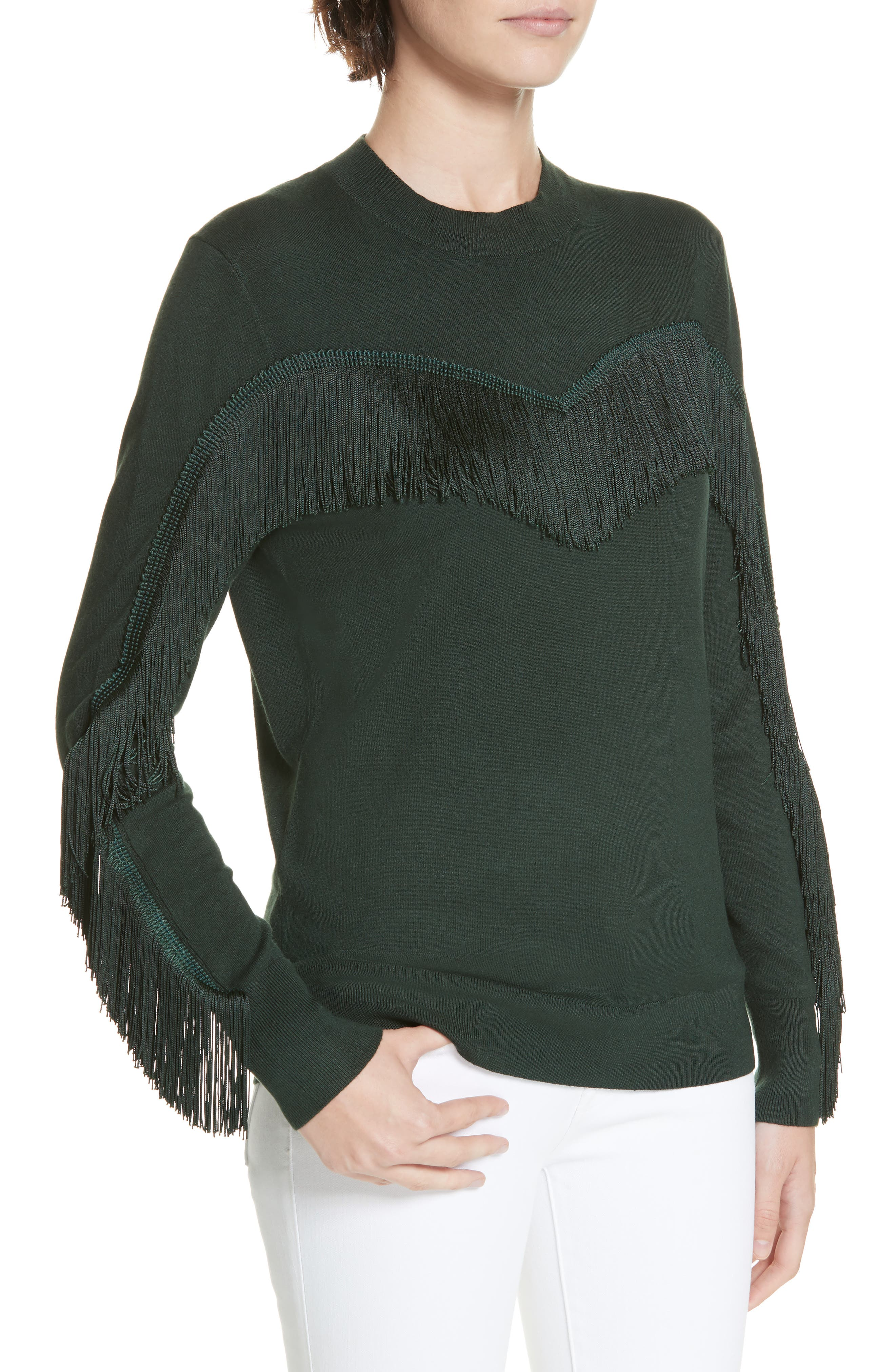 Aniebal Fringe Trim Sweater,                             Alternate thumbnail 4, color,                             DARK GREEN