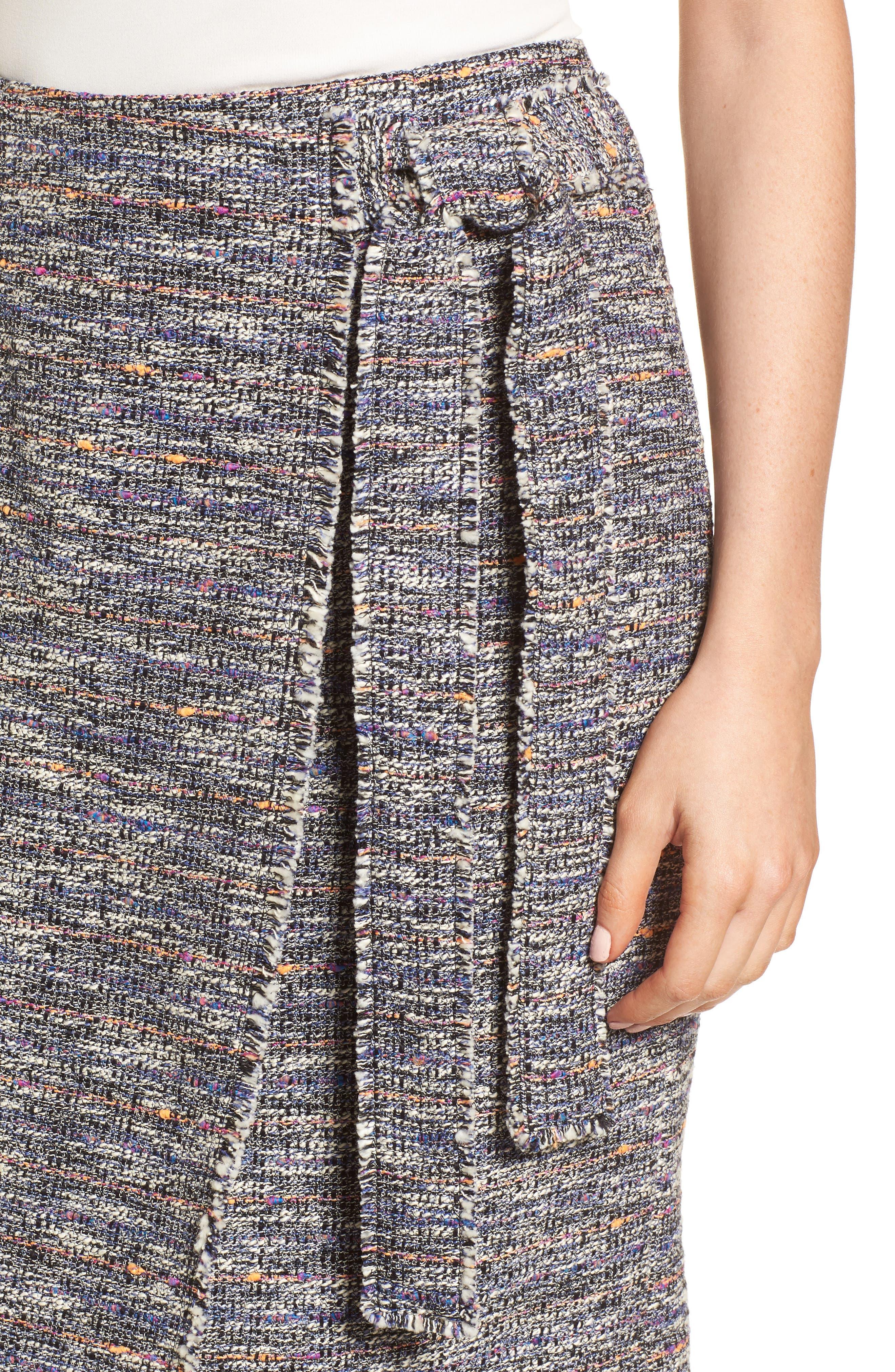 Tie Detail Pencil Skirt,                             Alternate thumbnail 4, color,                             001