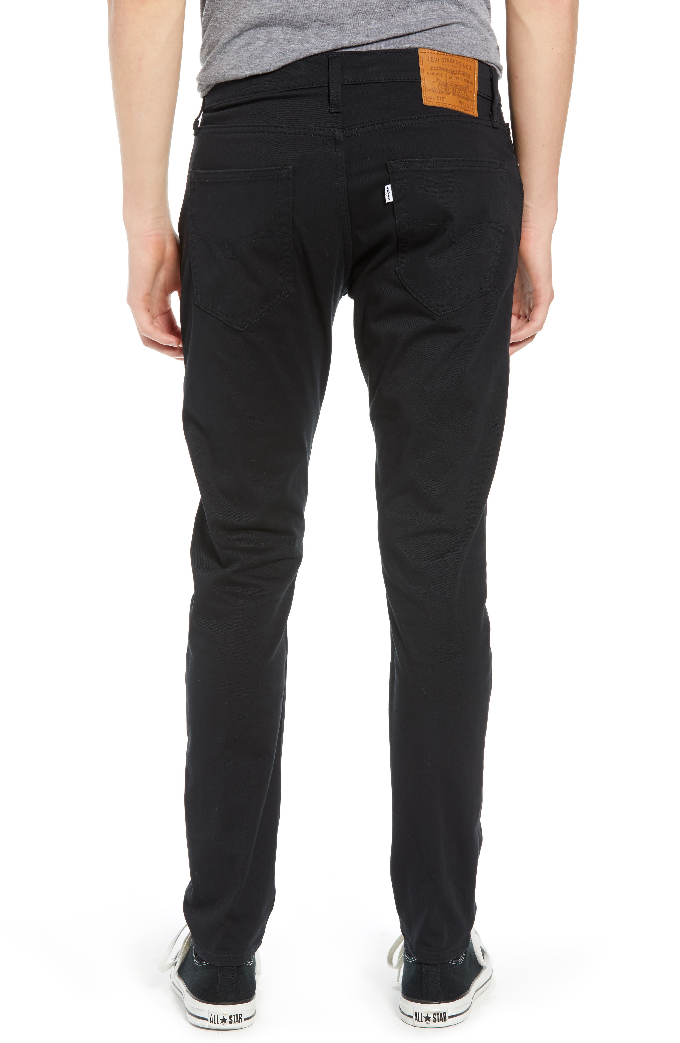 512<sup>™</sup> Slouchy Skinny Fit Twill Pants,                             Alternate thumbnail 2, color,                             BLACK WONDER KNIT TWILL