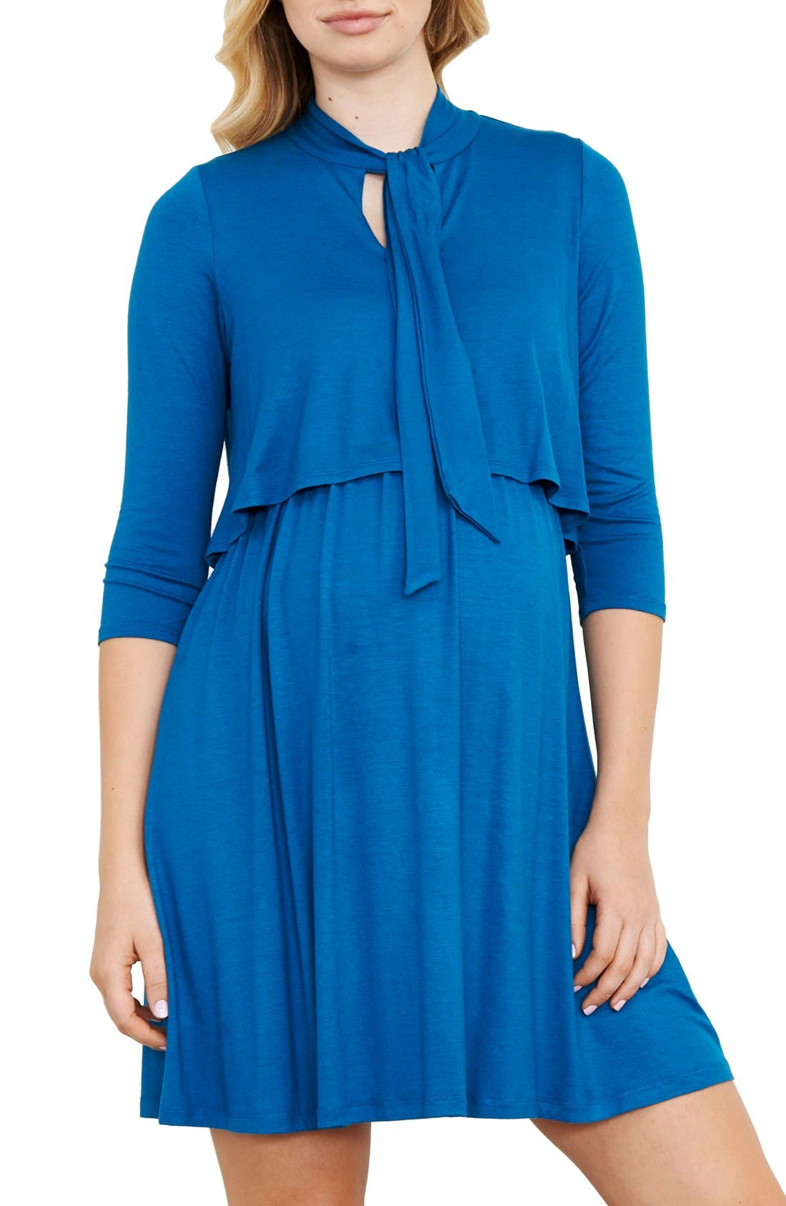 Tie Neck Maternity Dress,                         Main,                         color, TEAL