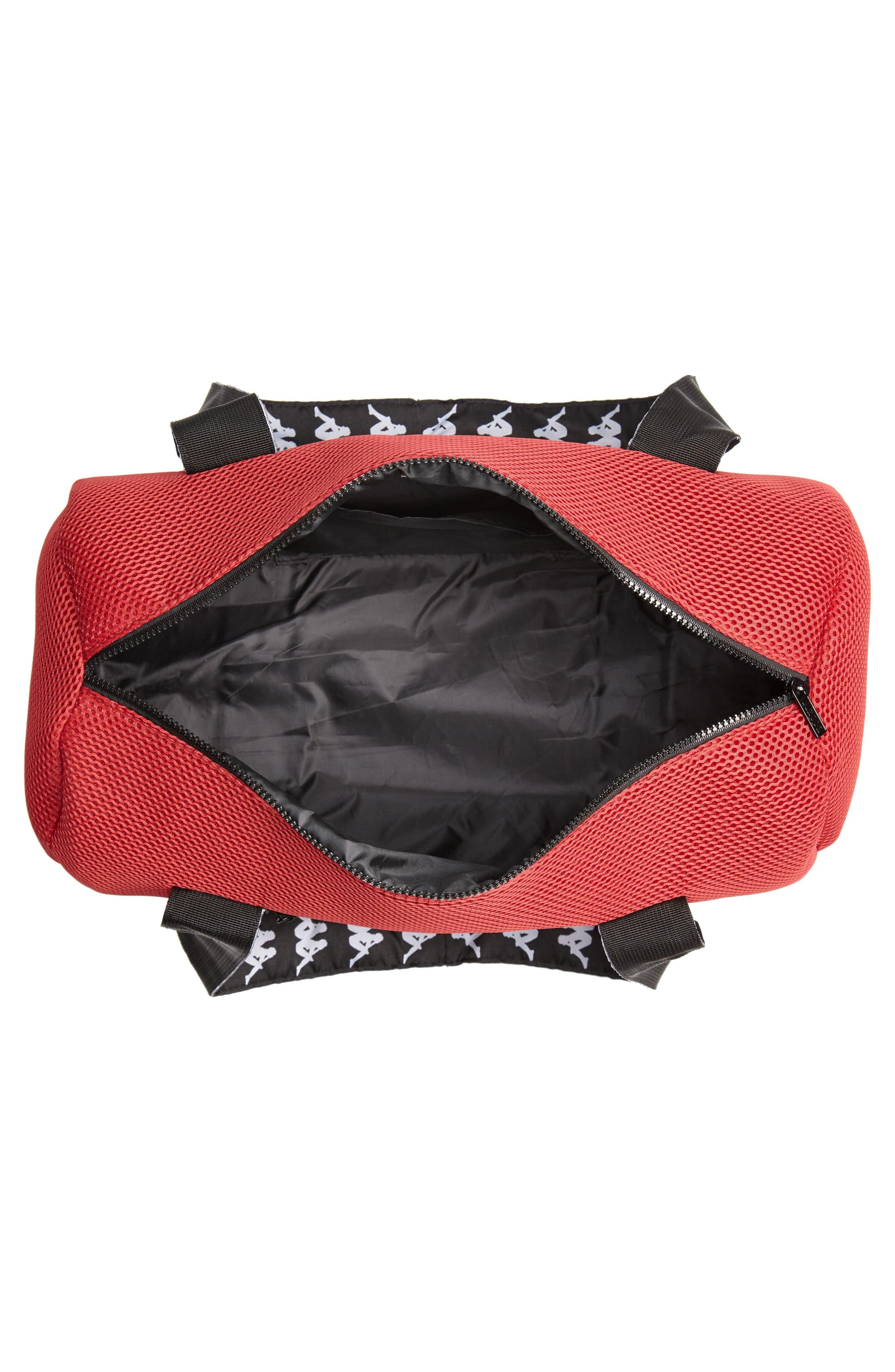 Large Mesh Athletic Duffel Bag,                             Alternate thumbnail 4, color,                             RED DK-BLACK-WHITE