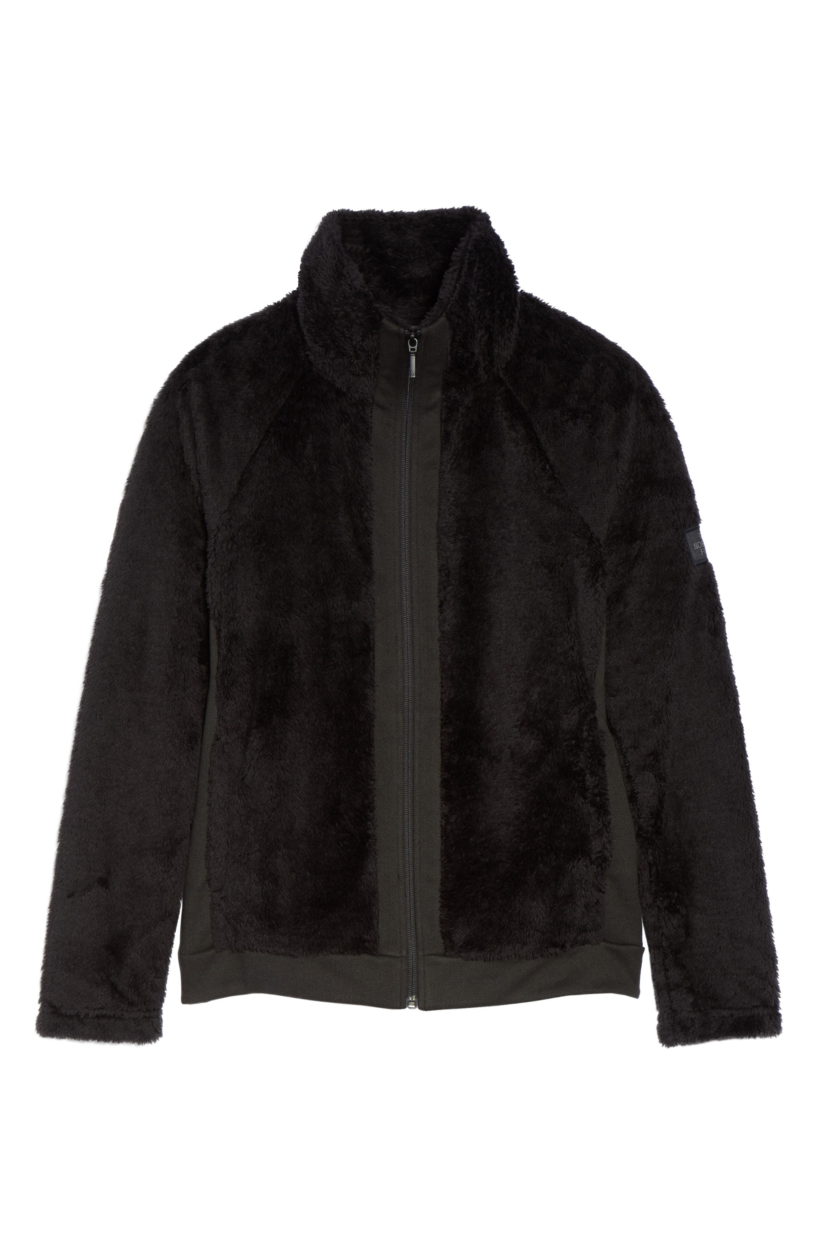 Furry Fleece Jacket,                             Alternate thumbnail 6, color,                             TNF BLACK