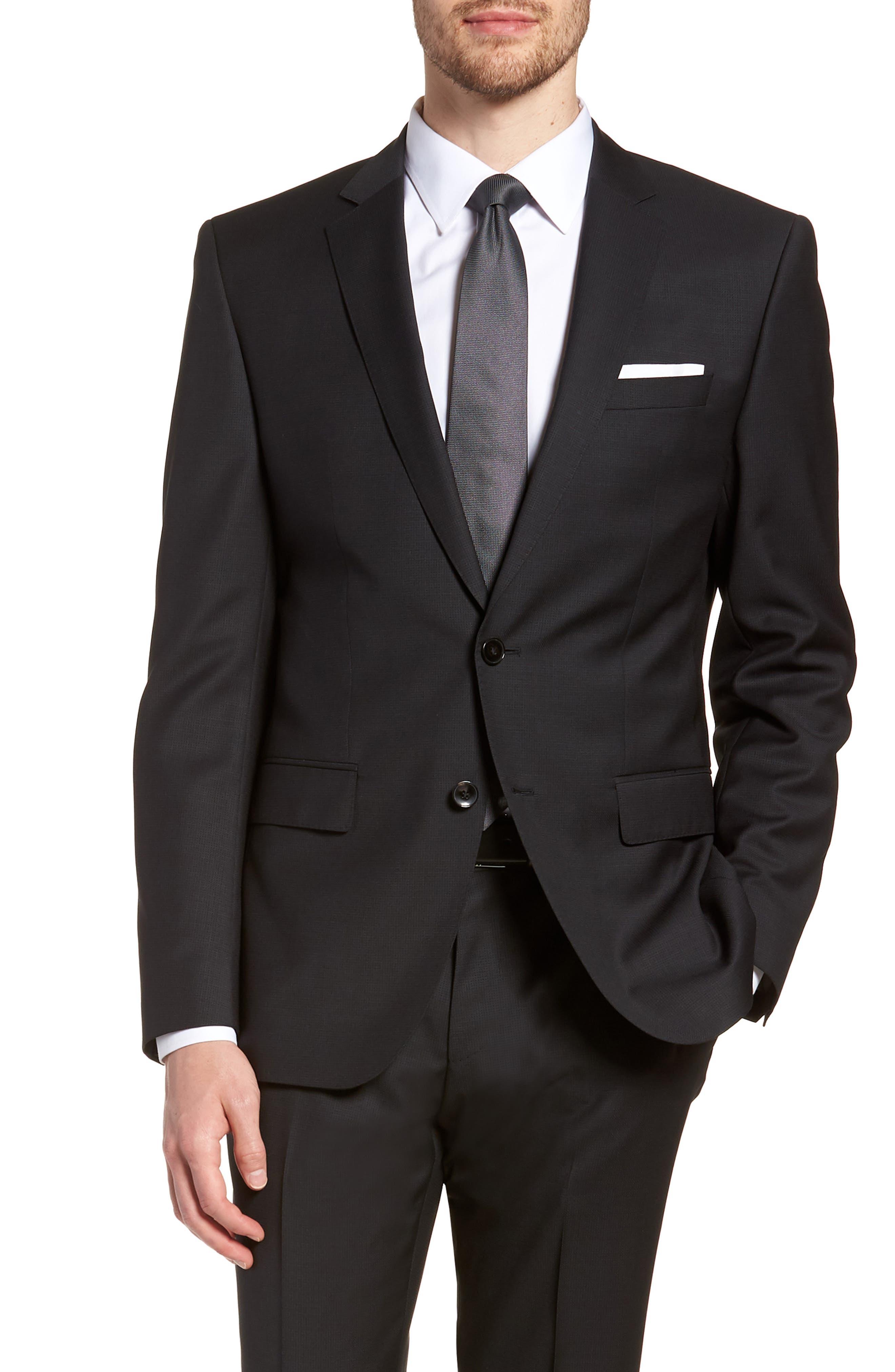 'Huge/Genius' Trim Fit Solid Wool Suit,                             Alternate thumbnail 5, color,                             BLACK