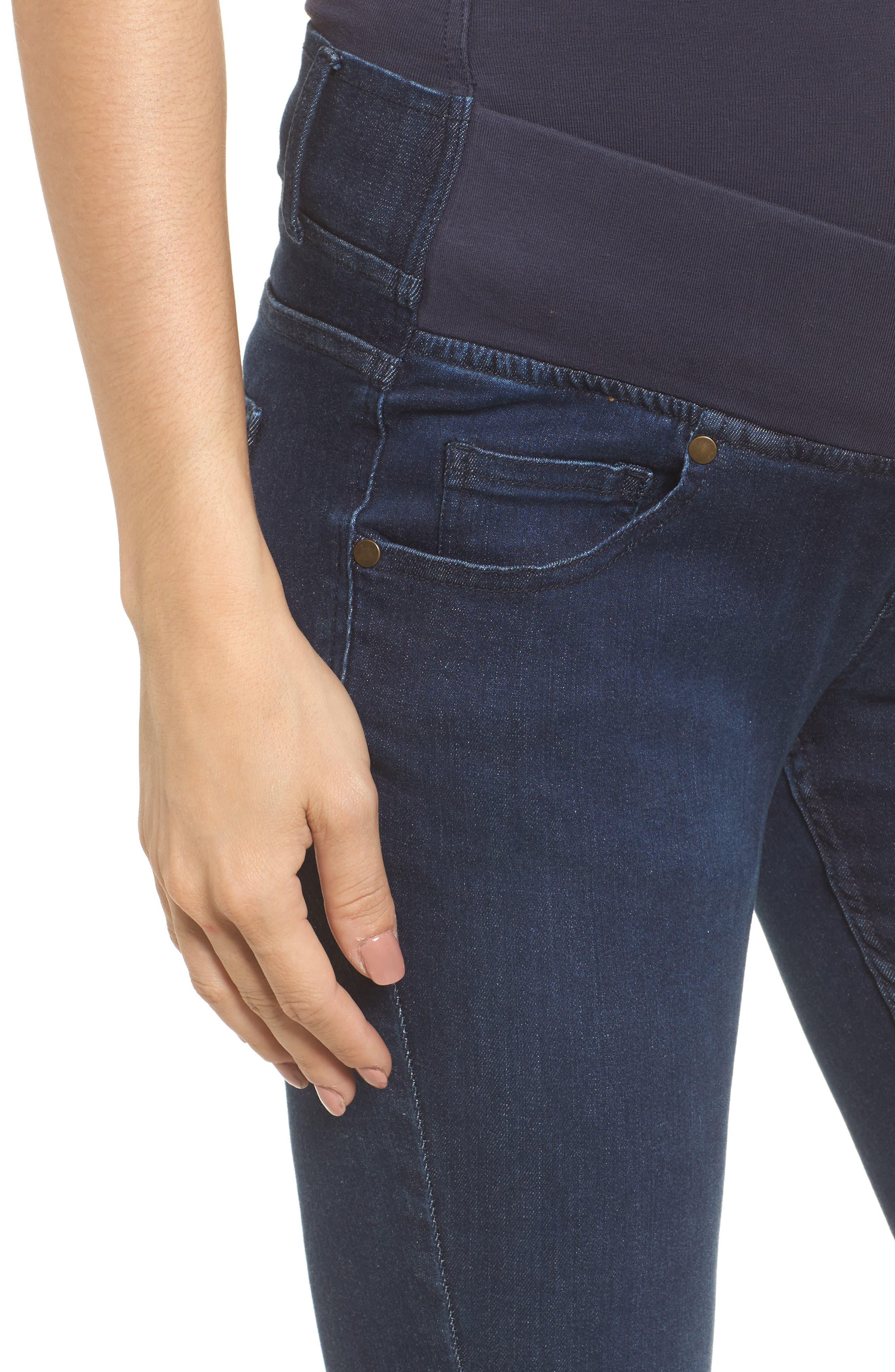 Super Stretch Maternity Skinny Jeans,                             Alternate thumbnail 4, color,                             INDIGO