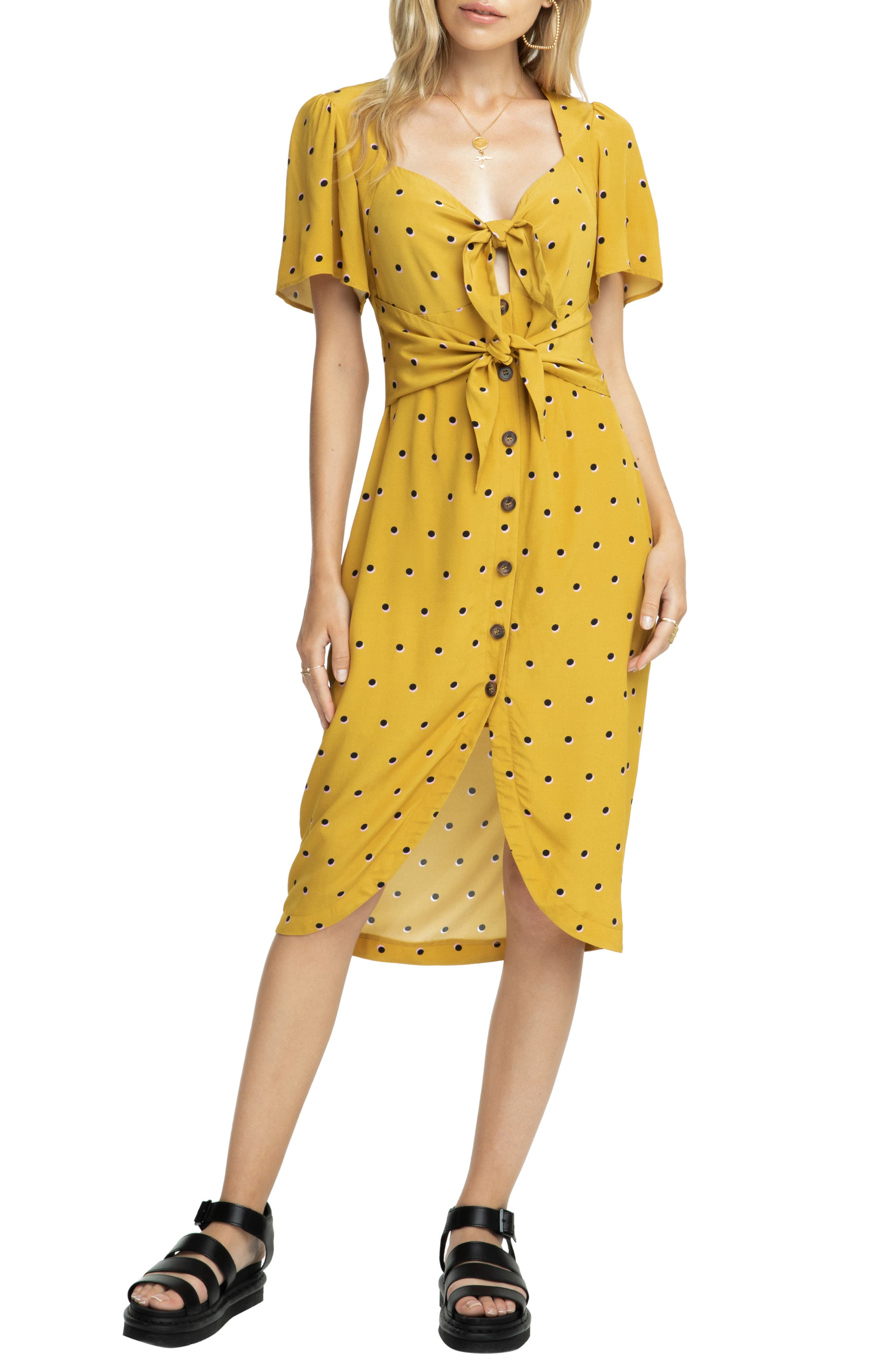 Astr The Label Cole Dress, Yellow