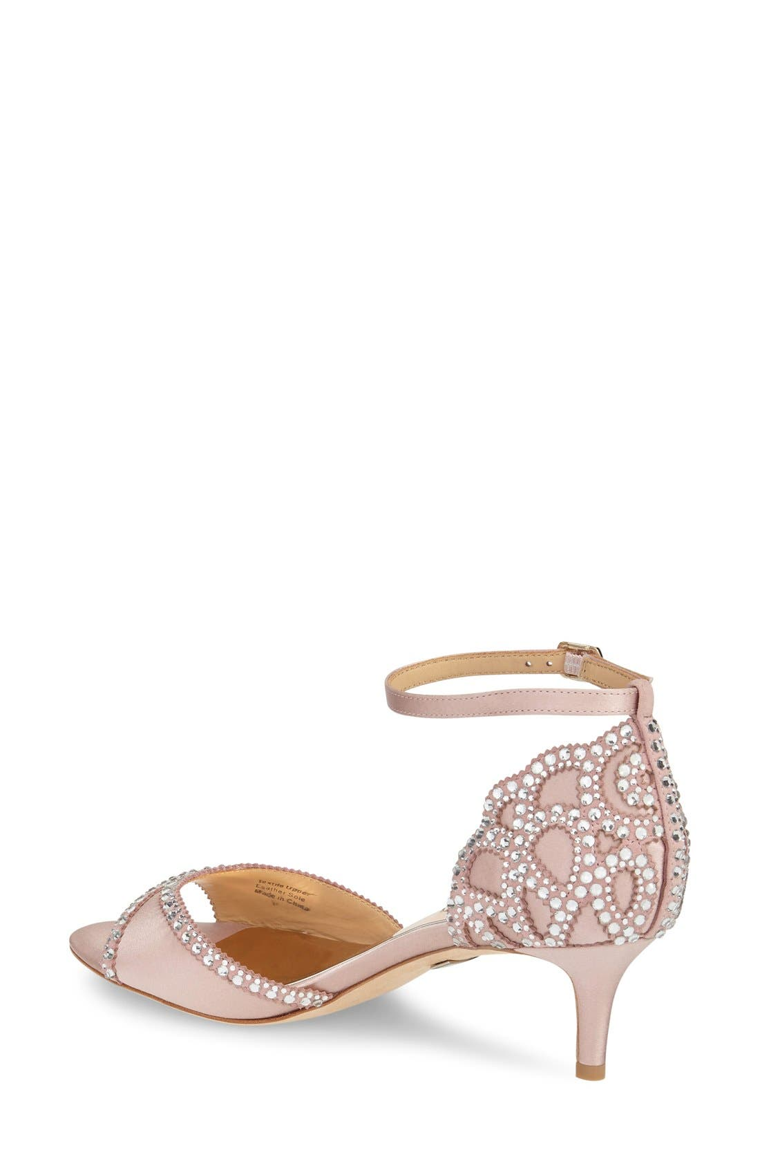 'Gillian' Crystal Embellished d'Orsay Sandal,                             Alternate thumbnail 3, color,                             BLUSH SATIN