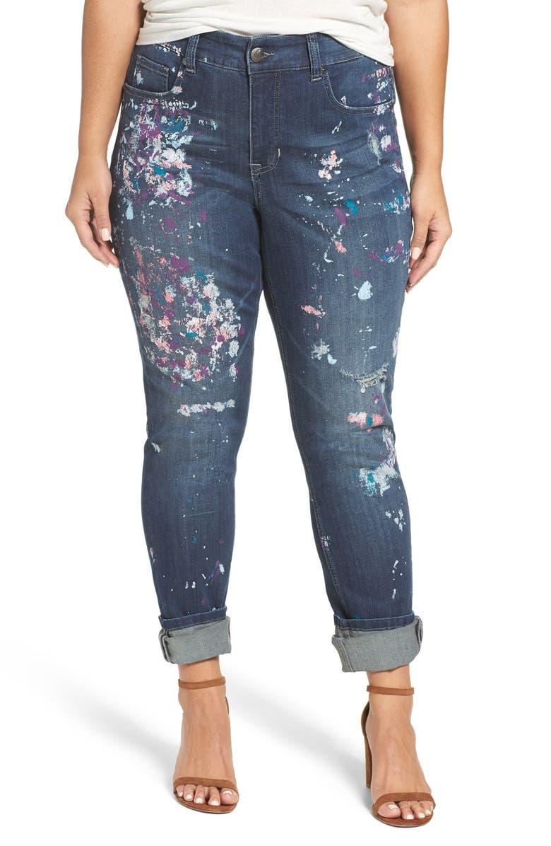 4d8f98258ba67 MELISSA MCCARTHY SEVEN7  Paint Splatter  Print Roll Cuff Stretch Skinny  Jeans