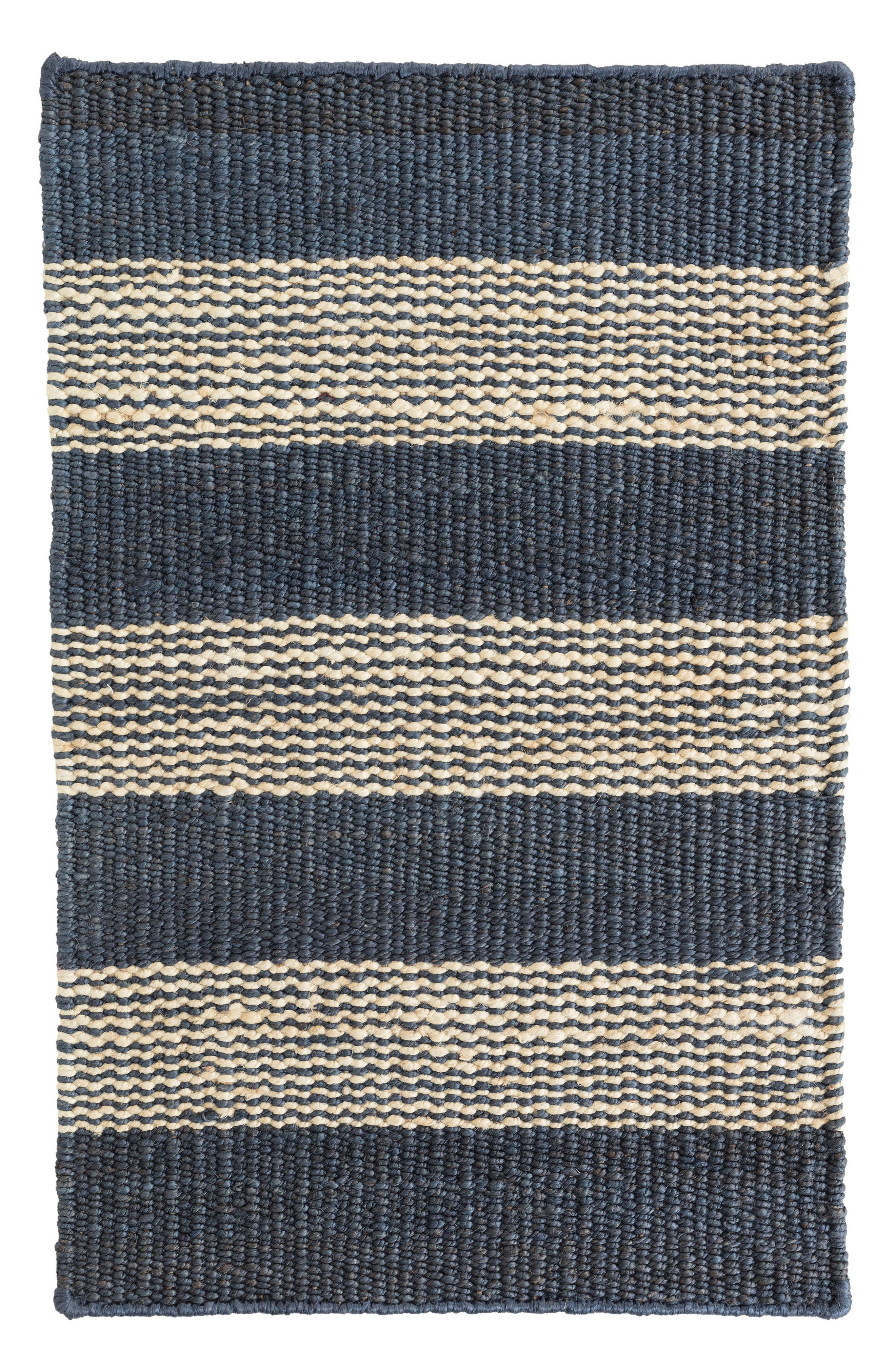 Denim Ticking Woven Rug,                         Main,                         color, BLUE