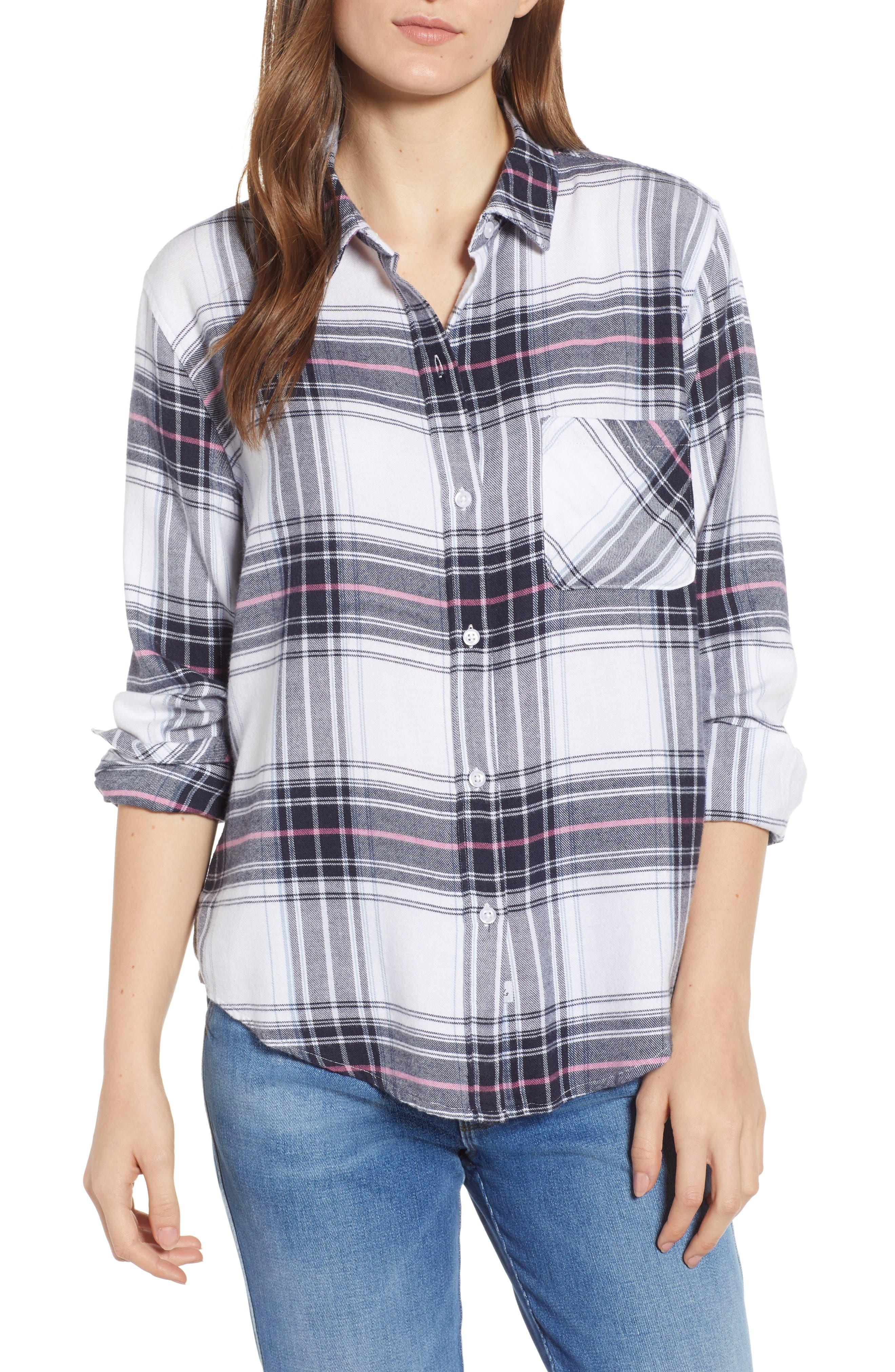 Milo Plaid Shirt,                         Main,                         color, WHITE NAVY MAGENTA